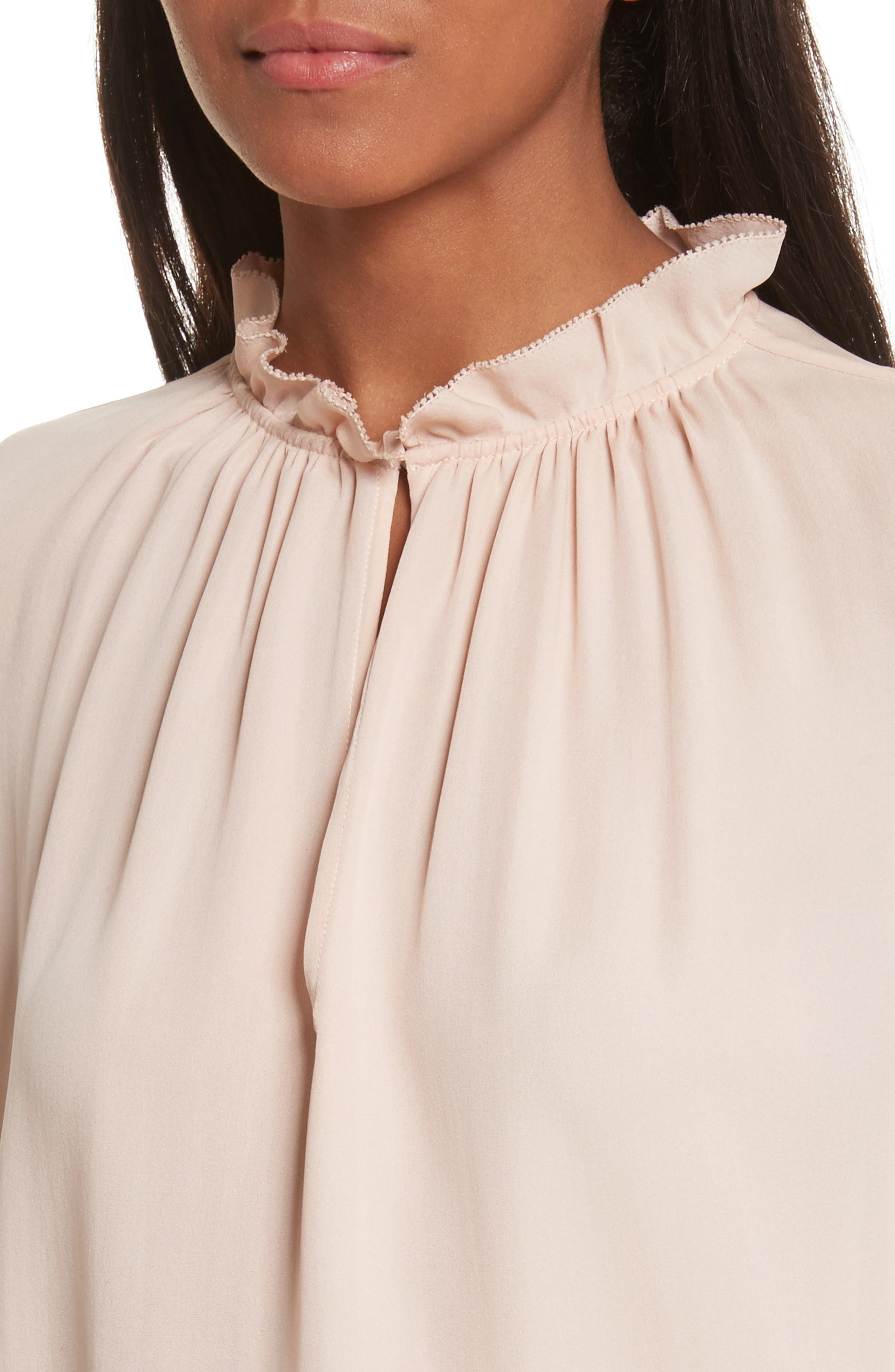 Long Sleeve Ruffle Silk Blouse,                             Alternate thumbnail 4, color,                             696