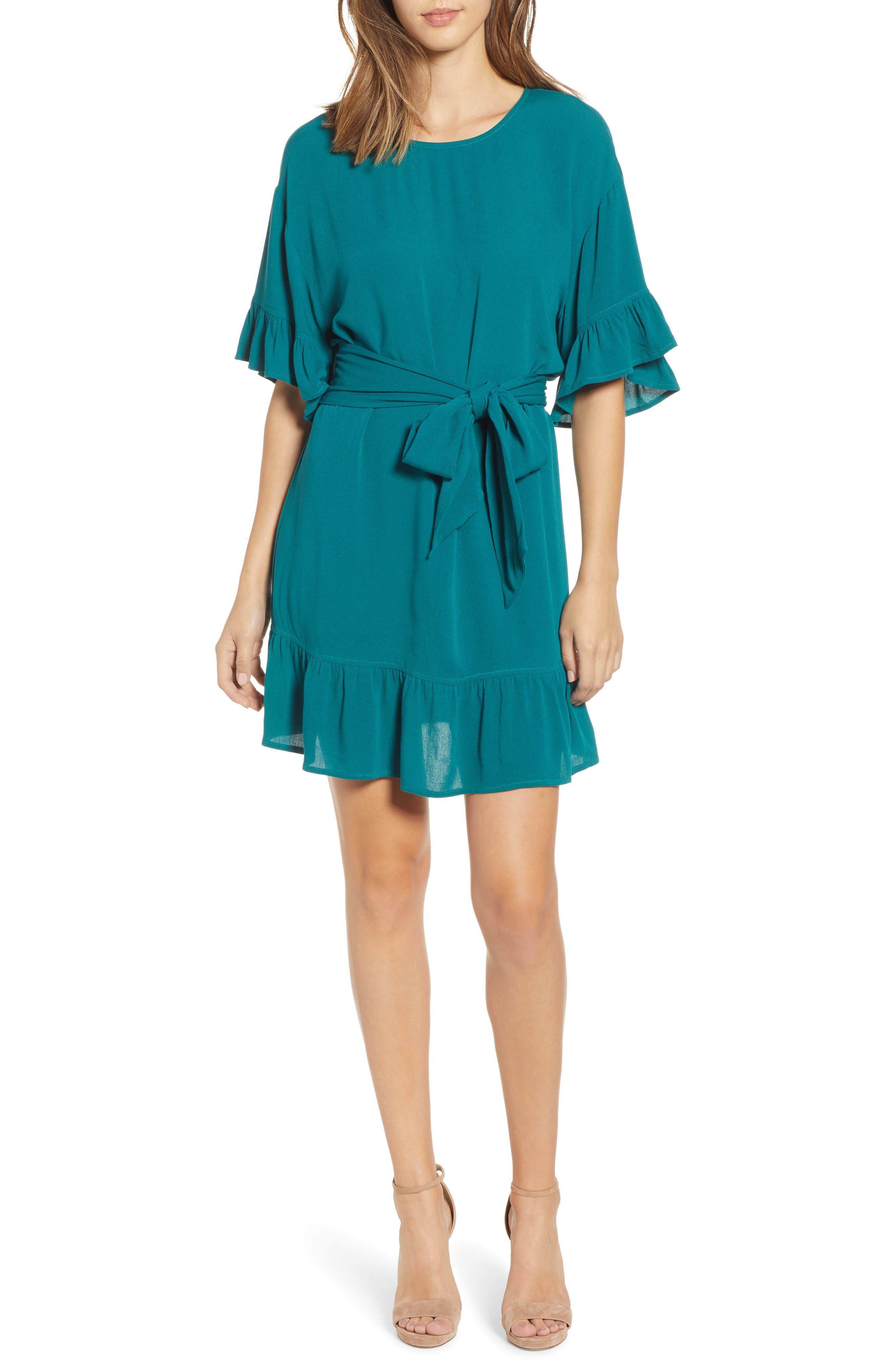 Row A Flutter Sleeve Dress, Green