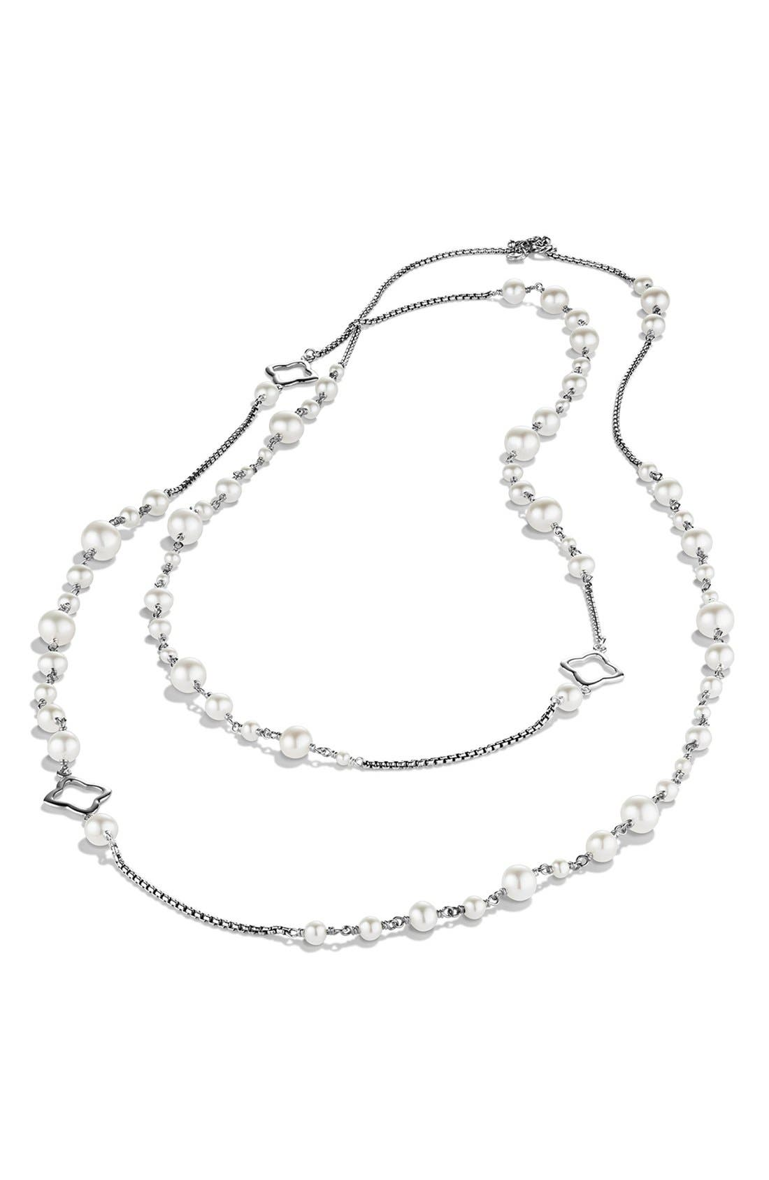 Pearl Chain Necklace,                             Alternate thumbnail 3, color,                             PEARL