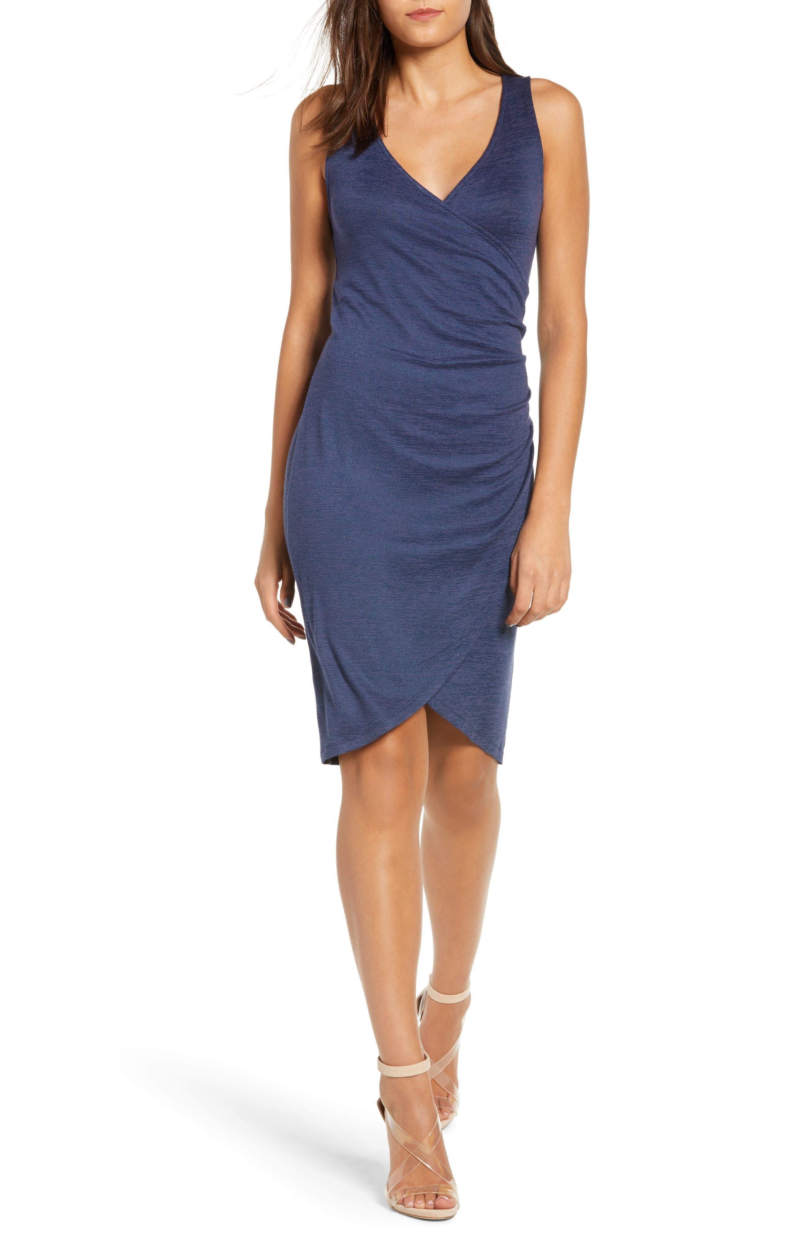 Leith Melange Wrap Dress, Blue