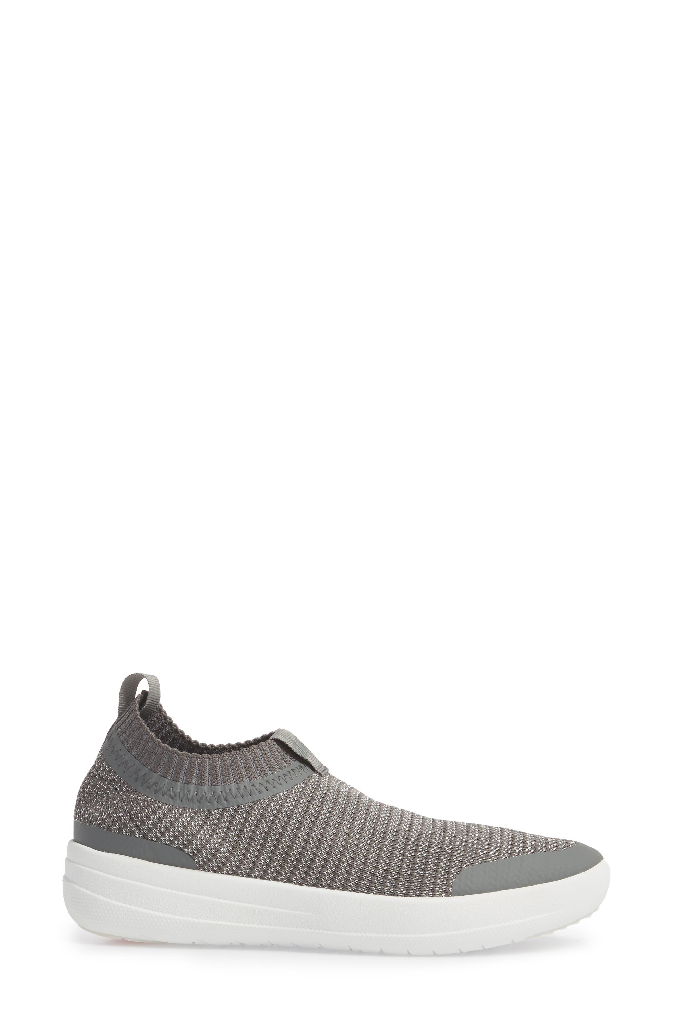 Uberknit Knit Sock Sneaker,                             Alternate thumbnail 3, color,                             CHARCOAL/ METALLIC PEWTER