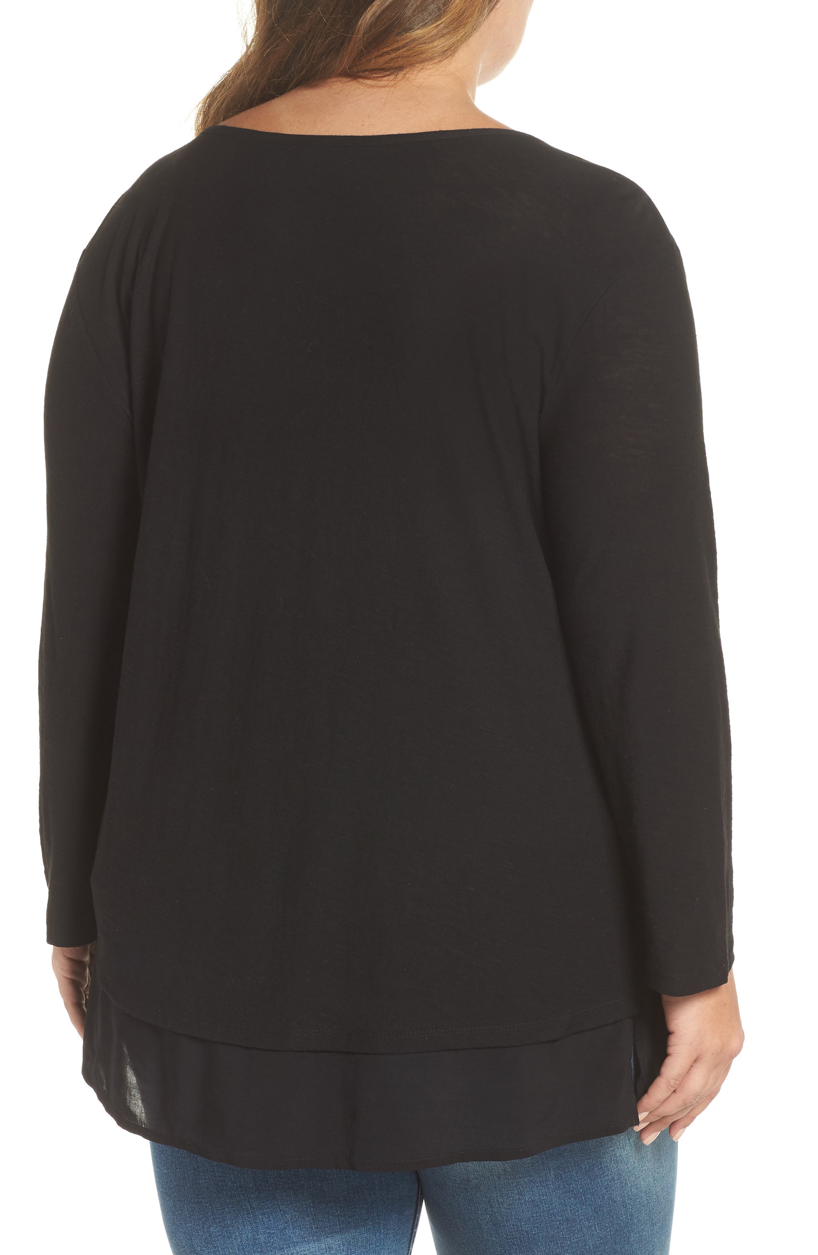 Woven Hem Layered Top,                             Alternate thumbnail 2, color,                             RICH BLACK
