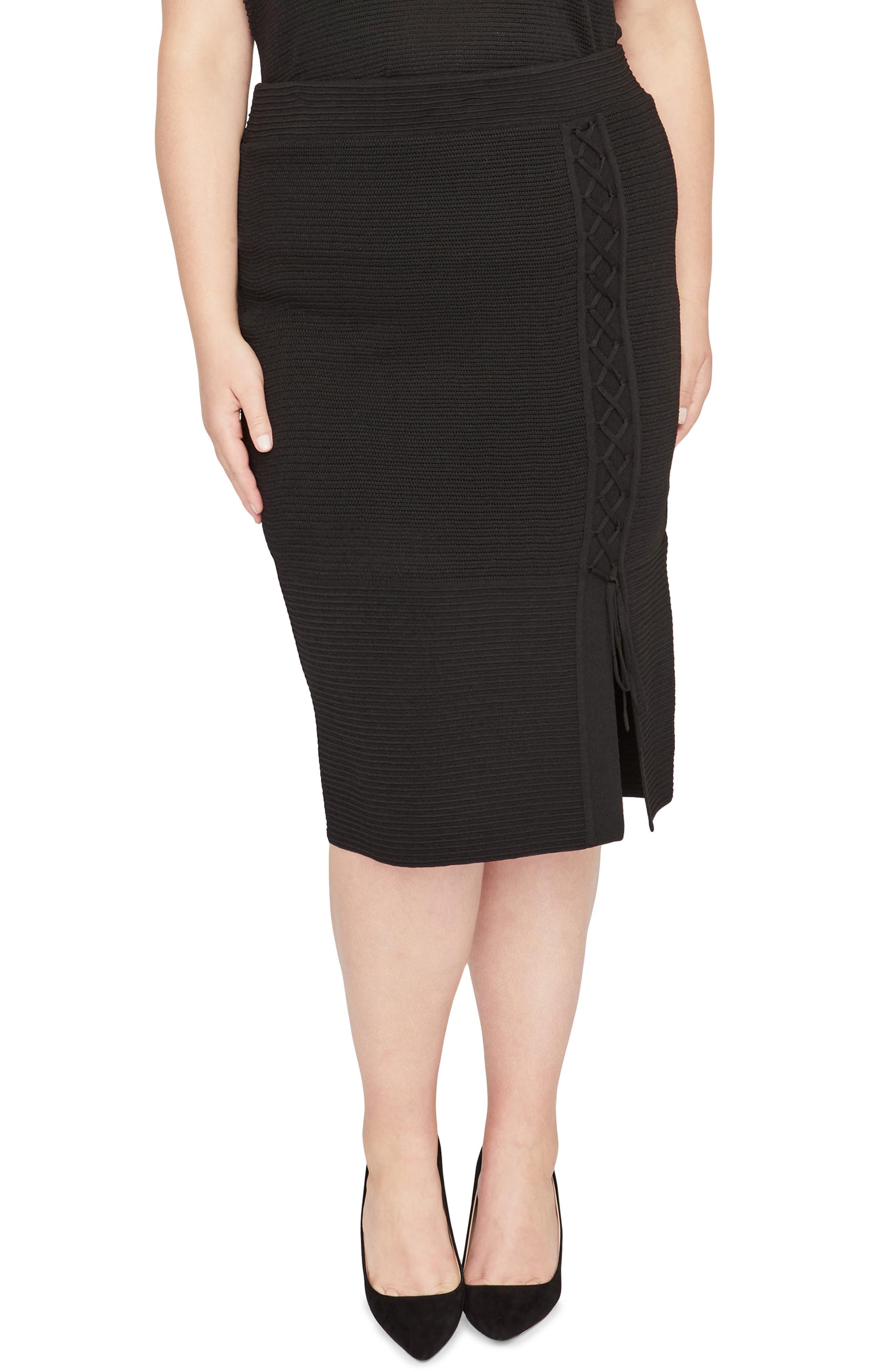 Rachel Roy Lace Up Pencil Skirt,                             Main thumbnail 1, color,                             001