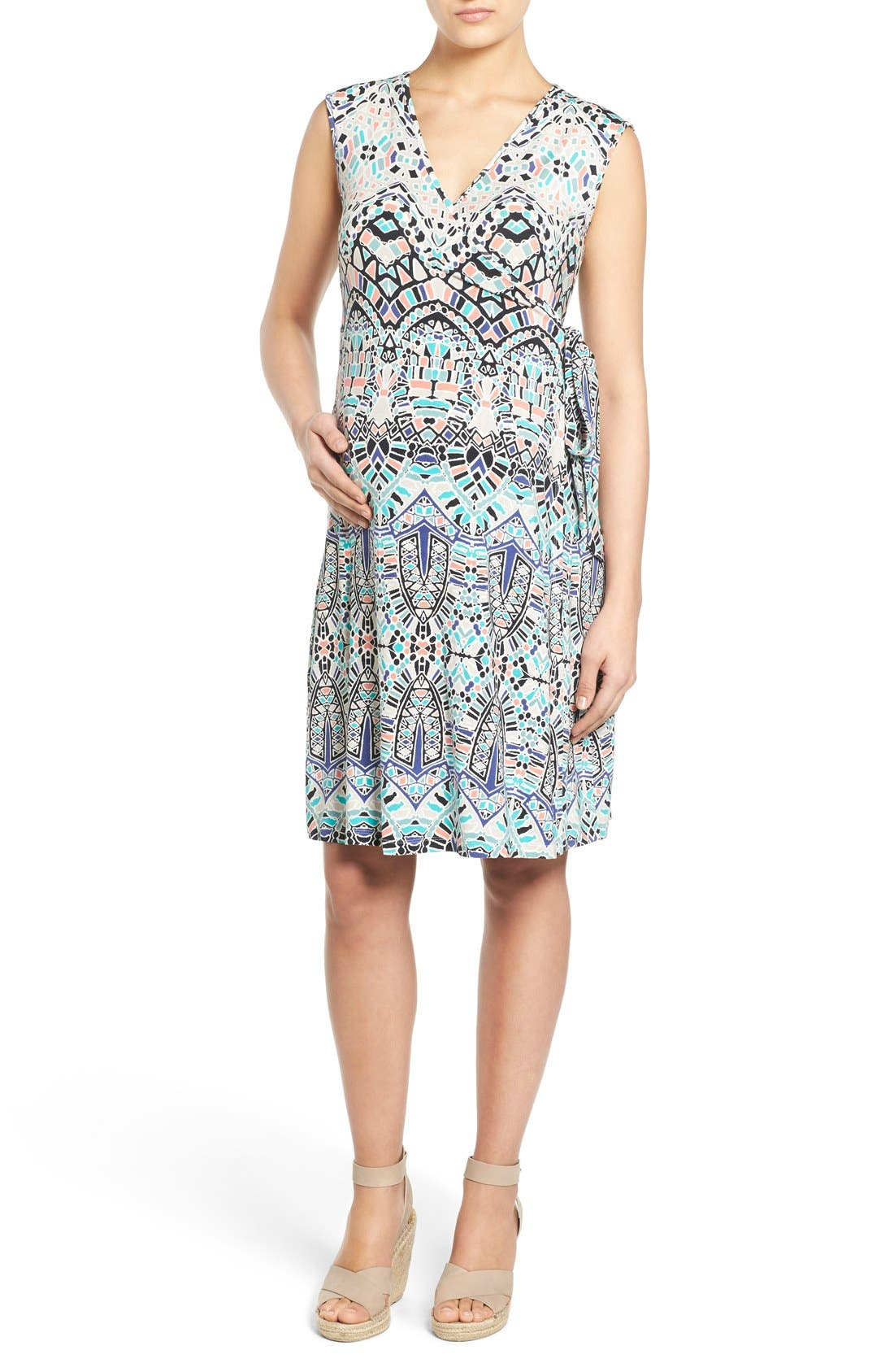 'Charmaine' Print Jersey Maternity Wrap Dress,                         Main,                         color, INK TILES