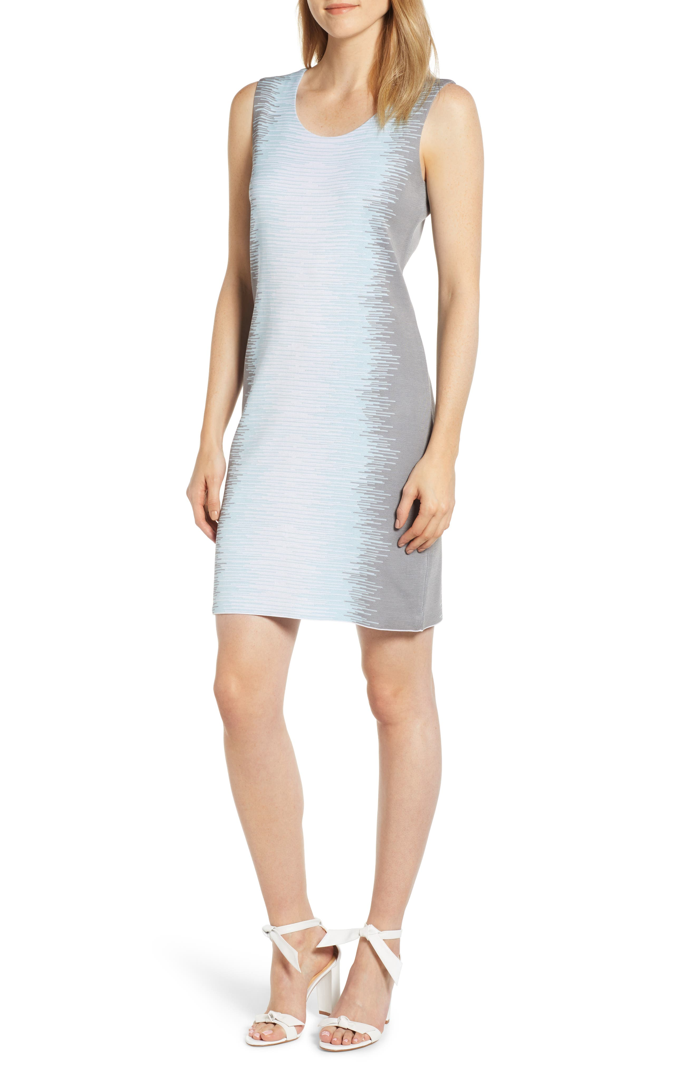 Print Knit Sheath Dress, Main, color, ICEBERG/ MERCURY/ WHITE