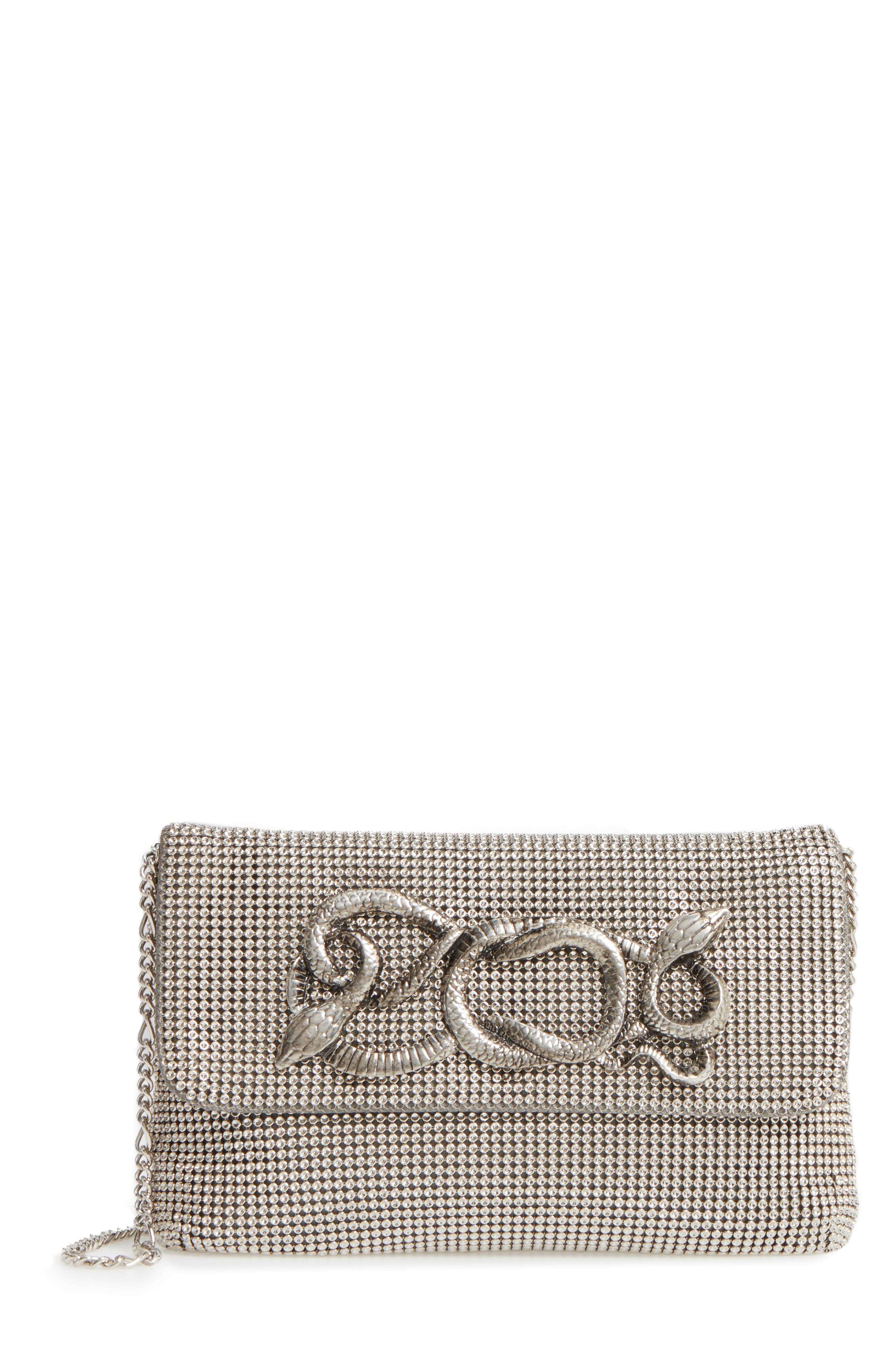 Serpent Mesh Clutch,                         Main,                         color, PEWTER