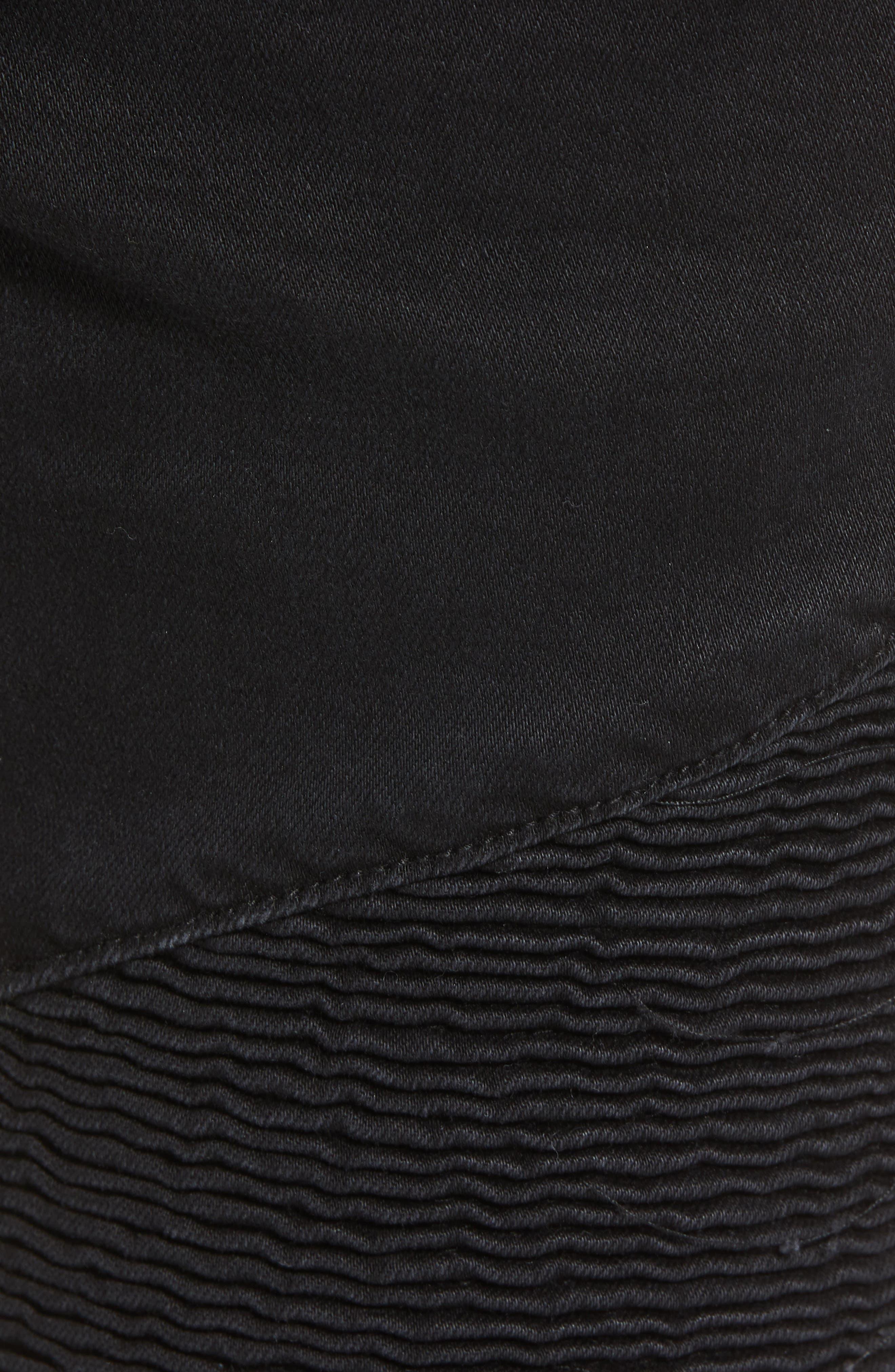Combination Moto Skinny Moto Jeans,                             Alternate thumbnail 5, color,                             BLACK