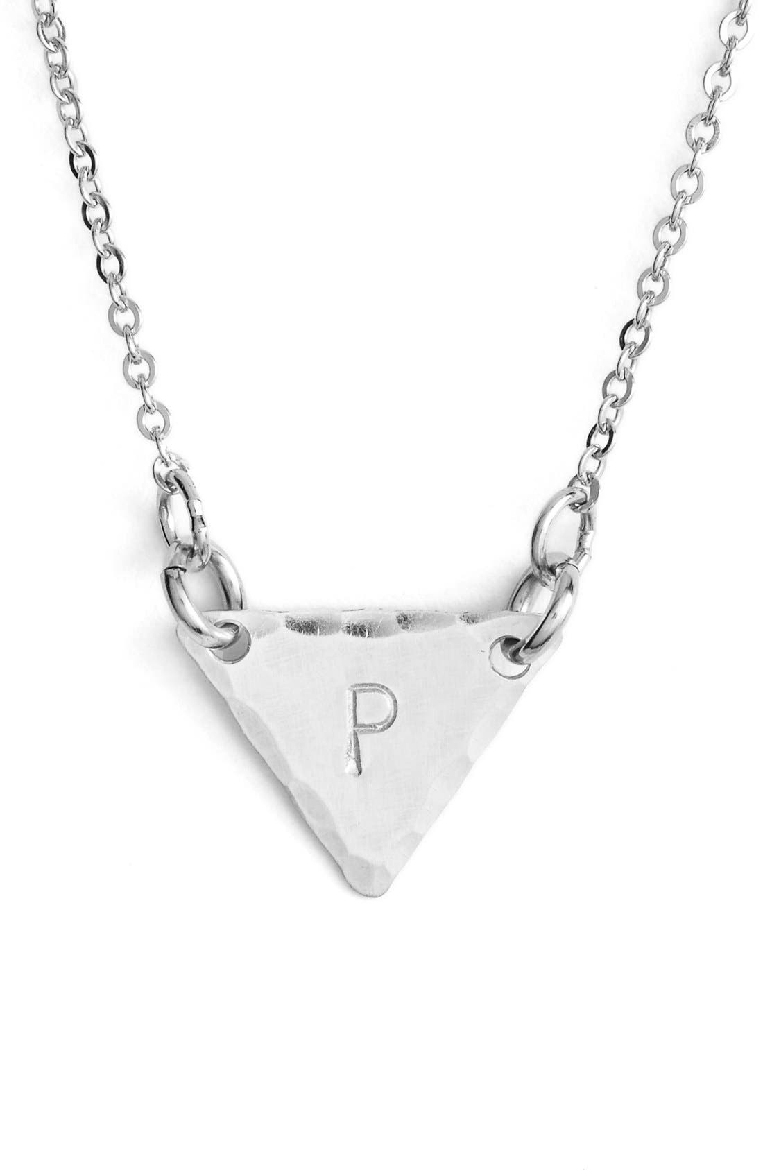 Sterling Silver Initial Mini Triangle Necklace,                             Main thumbnail 16, color,