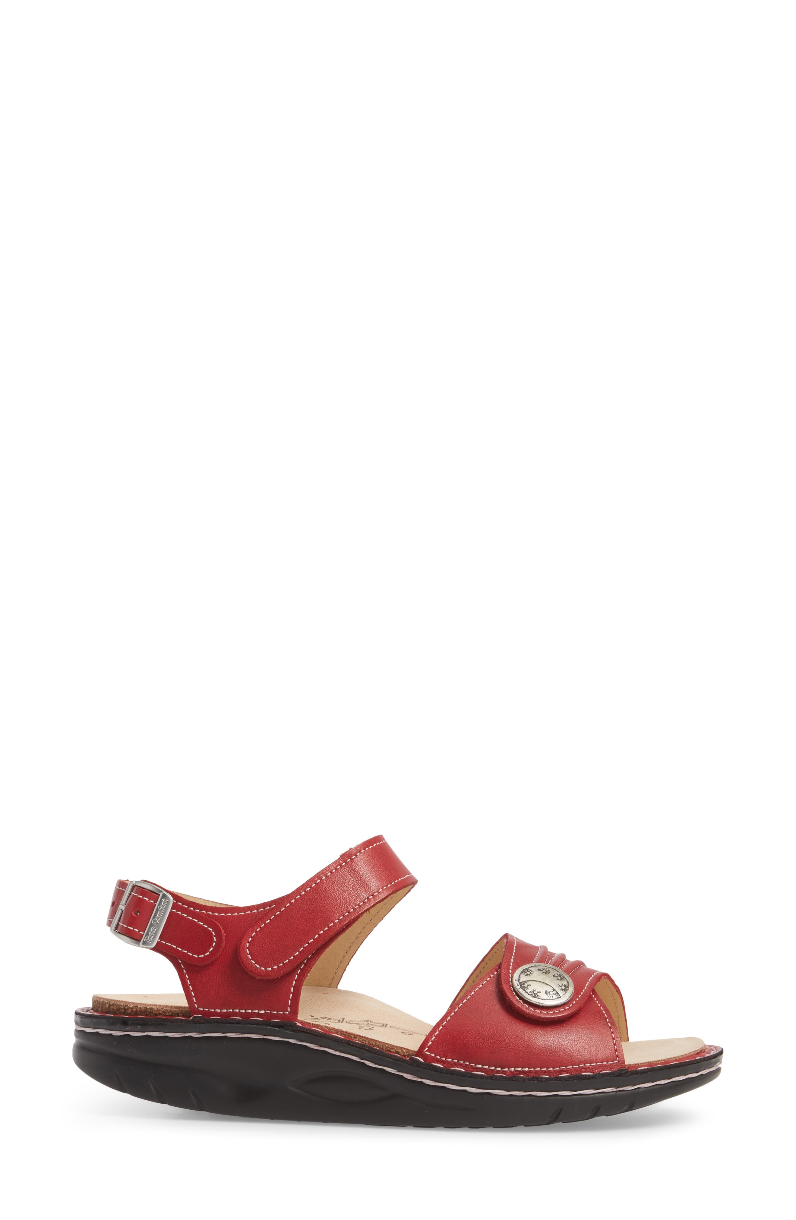 FINNAMIC by Finn Comfort 'Sausalito' Sandal,                             Alternate thumbnail 3, color,                             RED LEATHER