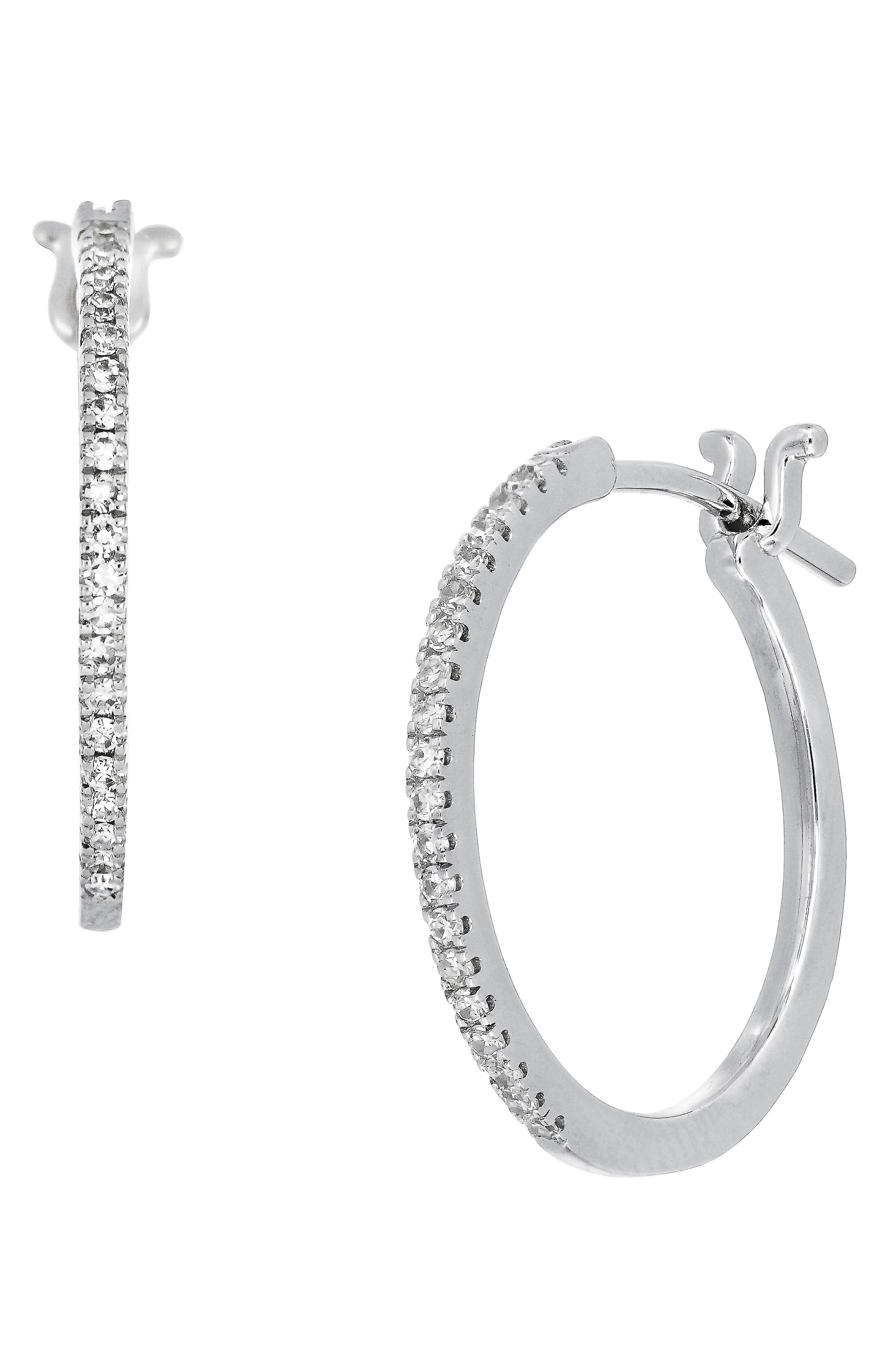 Carrière Medium Diamond Huggies,                             Main thumbnail 1, color,                             STERLING SILVER/ DIAMOND
