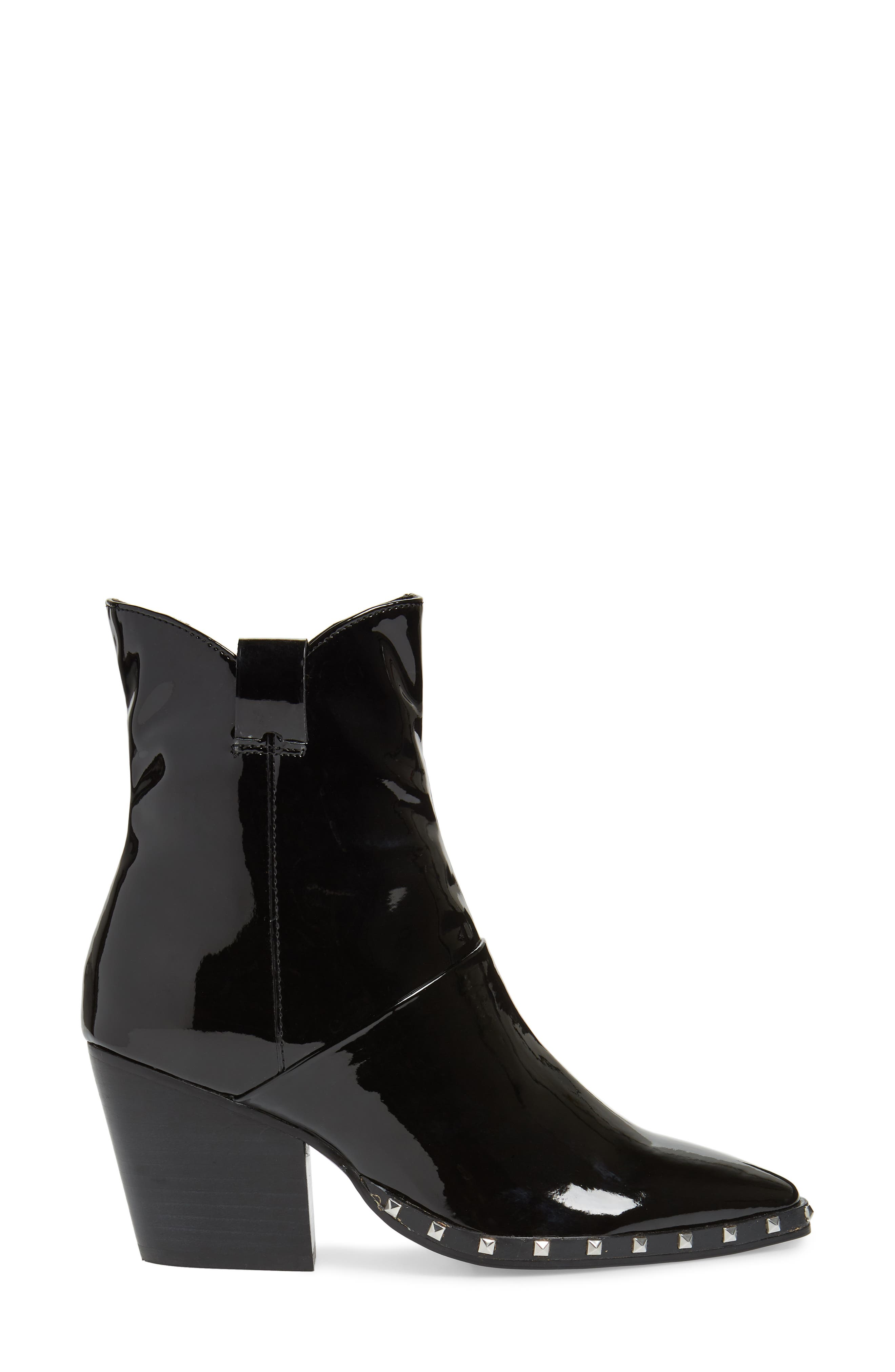 Haines Studded Bootie,                             Alternate thumbnail 3, color,                             MIDNIGHT PATENT LEATHER