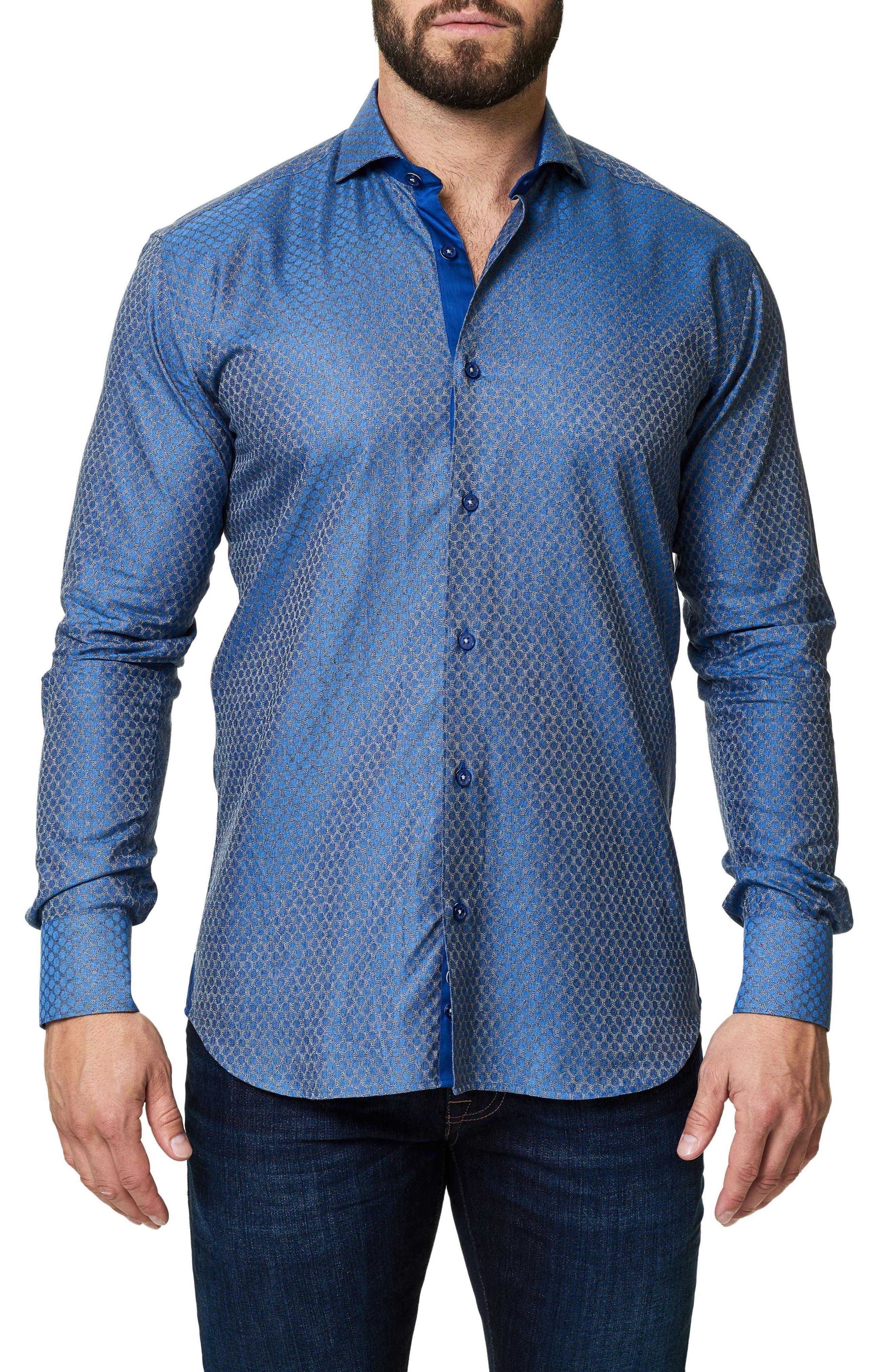 Trim Fit Dot Print Sport Shirt,                         Main,                         color, 420