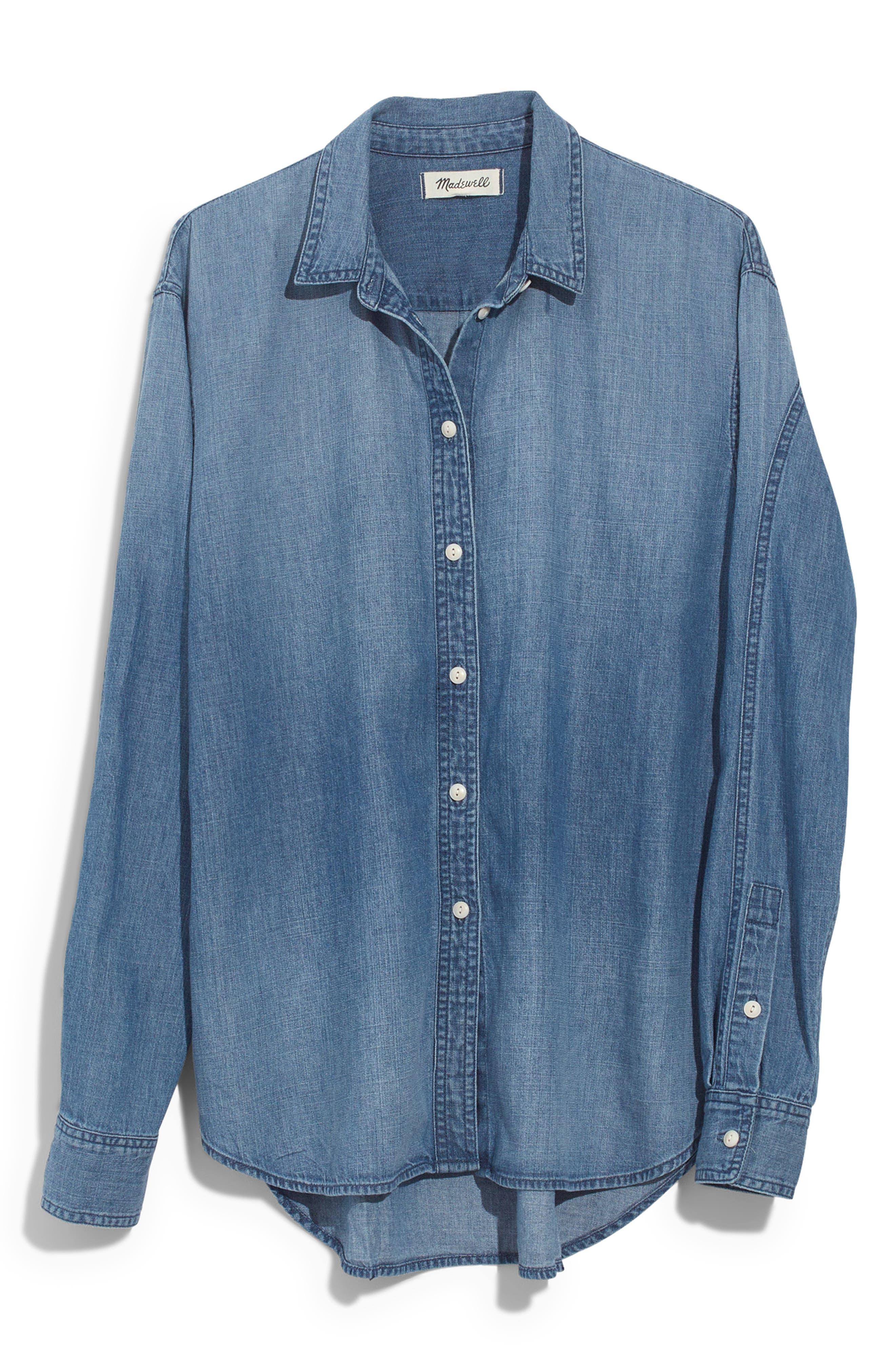 Denim Oversize Ex-Boyfriend Shirt,                             Alternate thumbnail 4, color,                             400