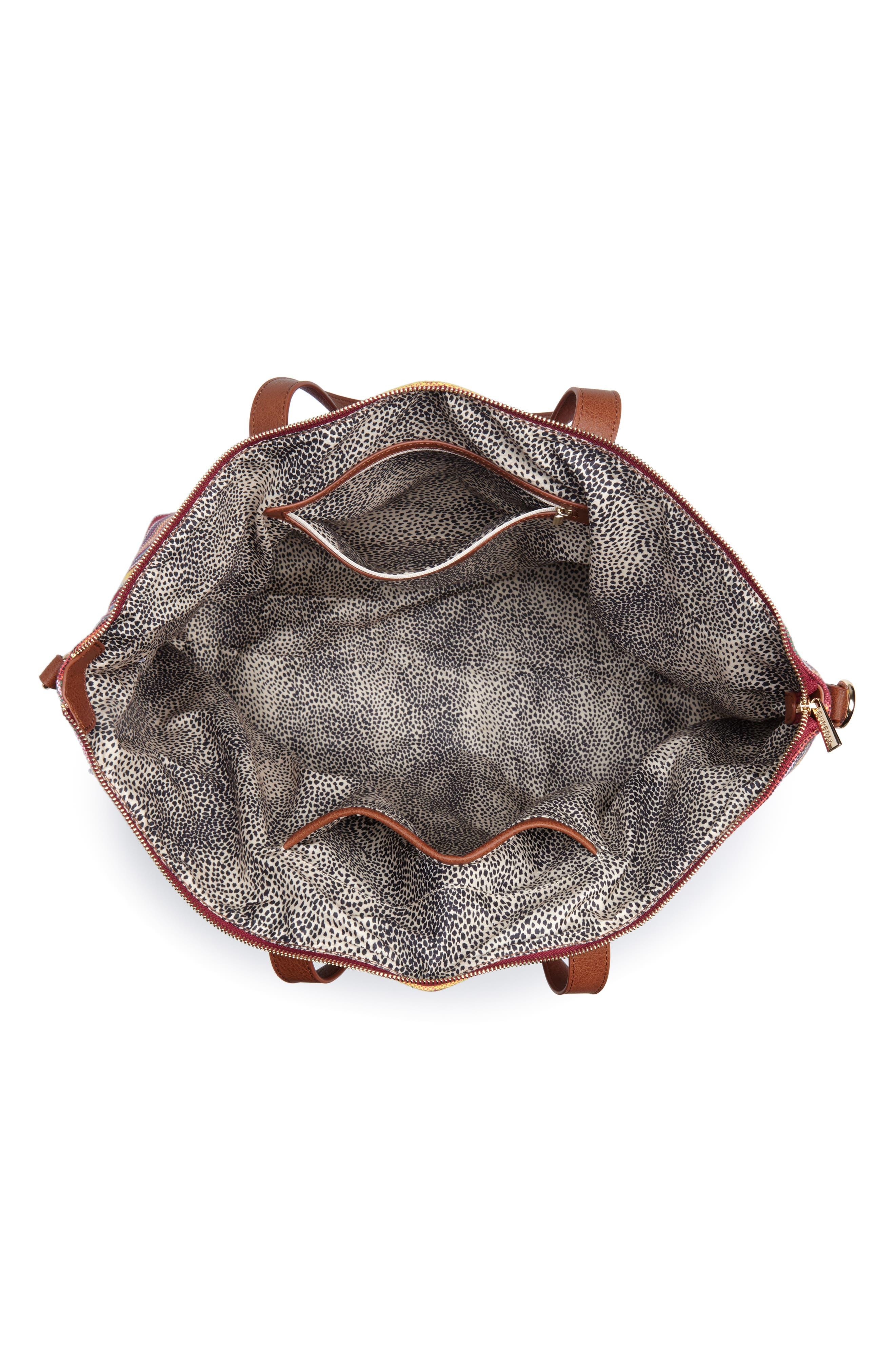 Stripe Woven Overnight Bag,                             Alternate thumbnail 4, color,                             500
