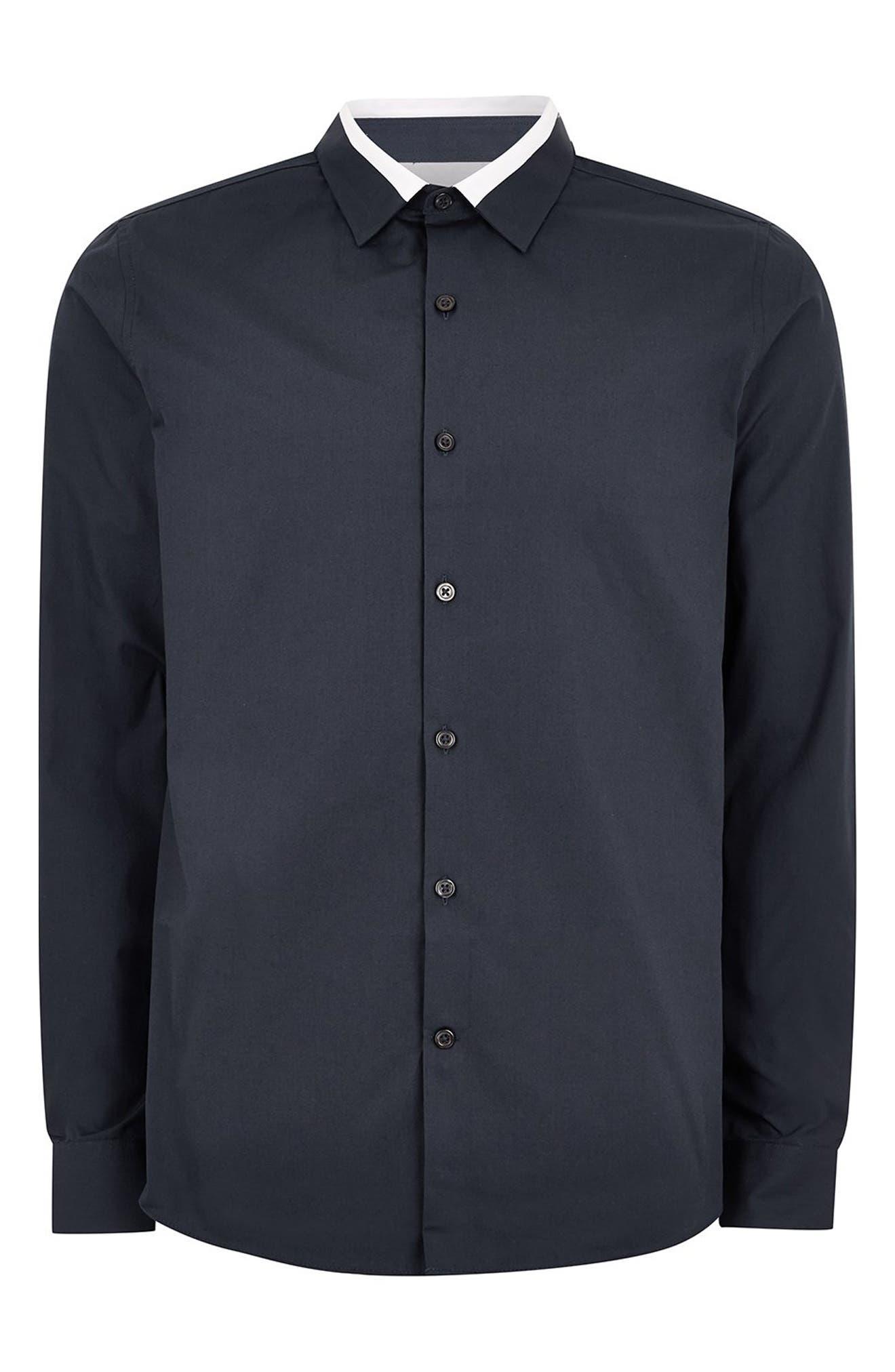 Slim Fit Panel Collar Shirt,                             Alternate thumbnail 4, color,                             411