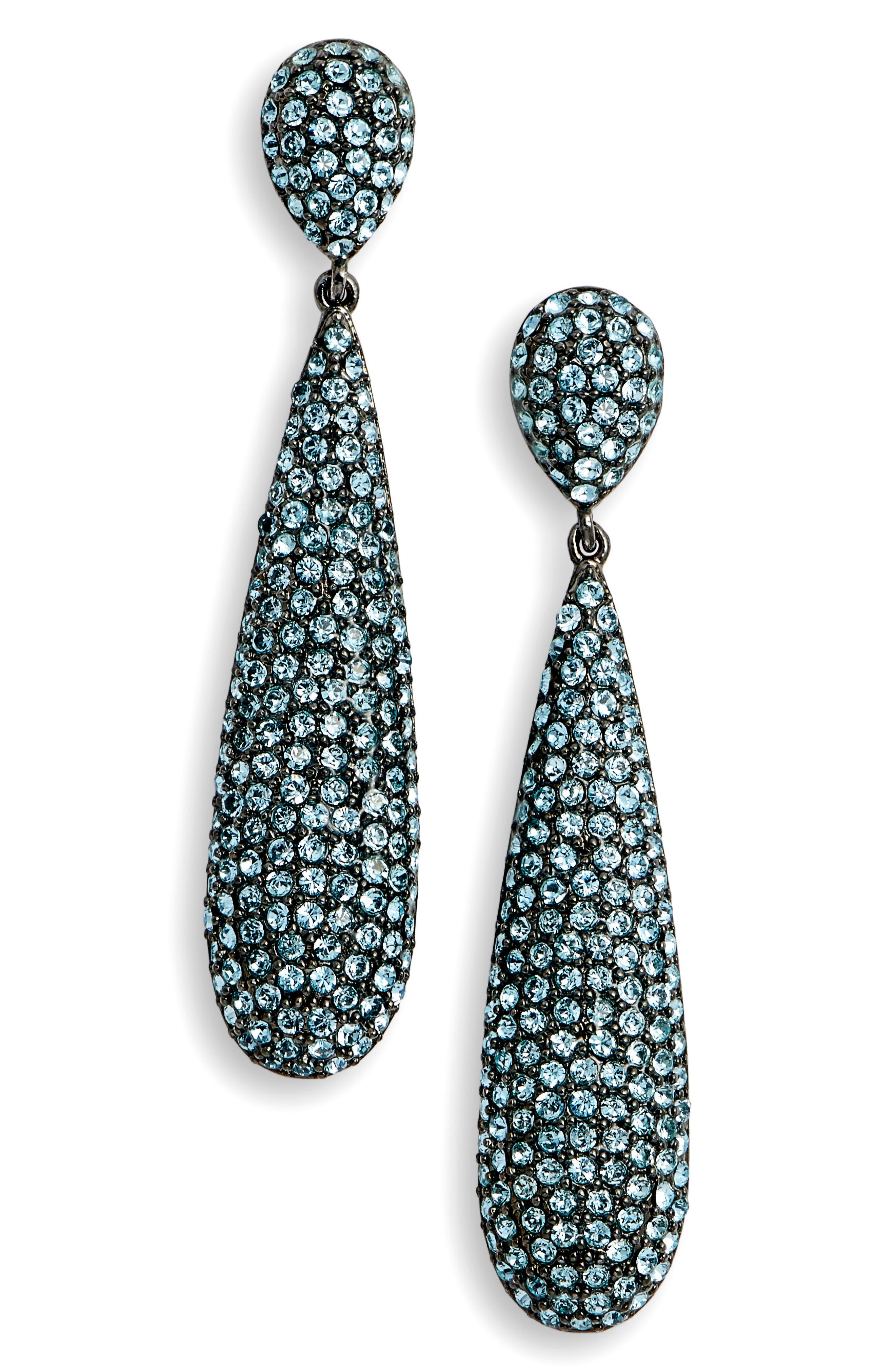 Elongated Pavé Swarovski Crystal Teardrop Earrings,                             Main thumbnail 1, color,                             AQUAMARINE/ BLACK SILVER