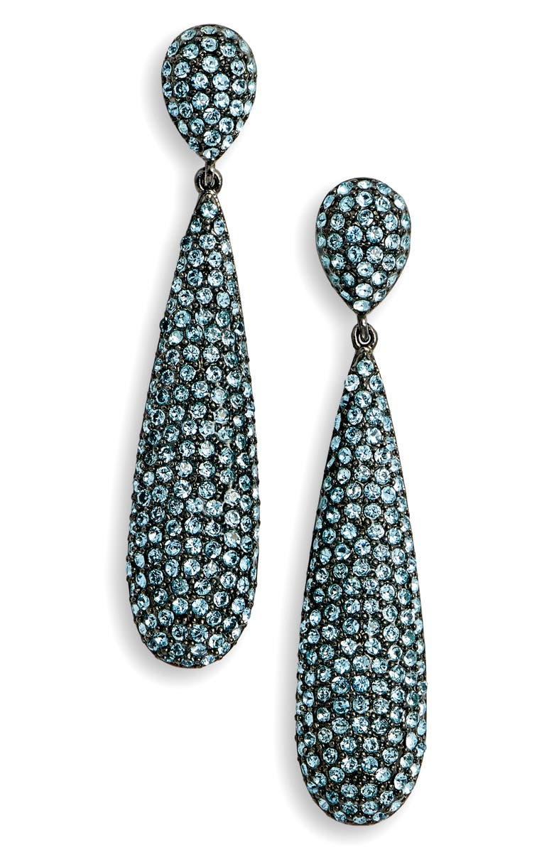 ba93b9e17 NINA Elongated Pavé Swarovski Crystal Teardrop Earrings, Main, color,  AQUAMARINE/ BLACK SILVER