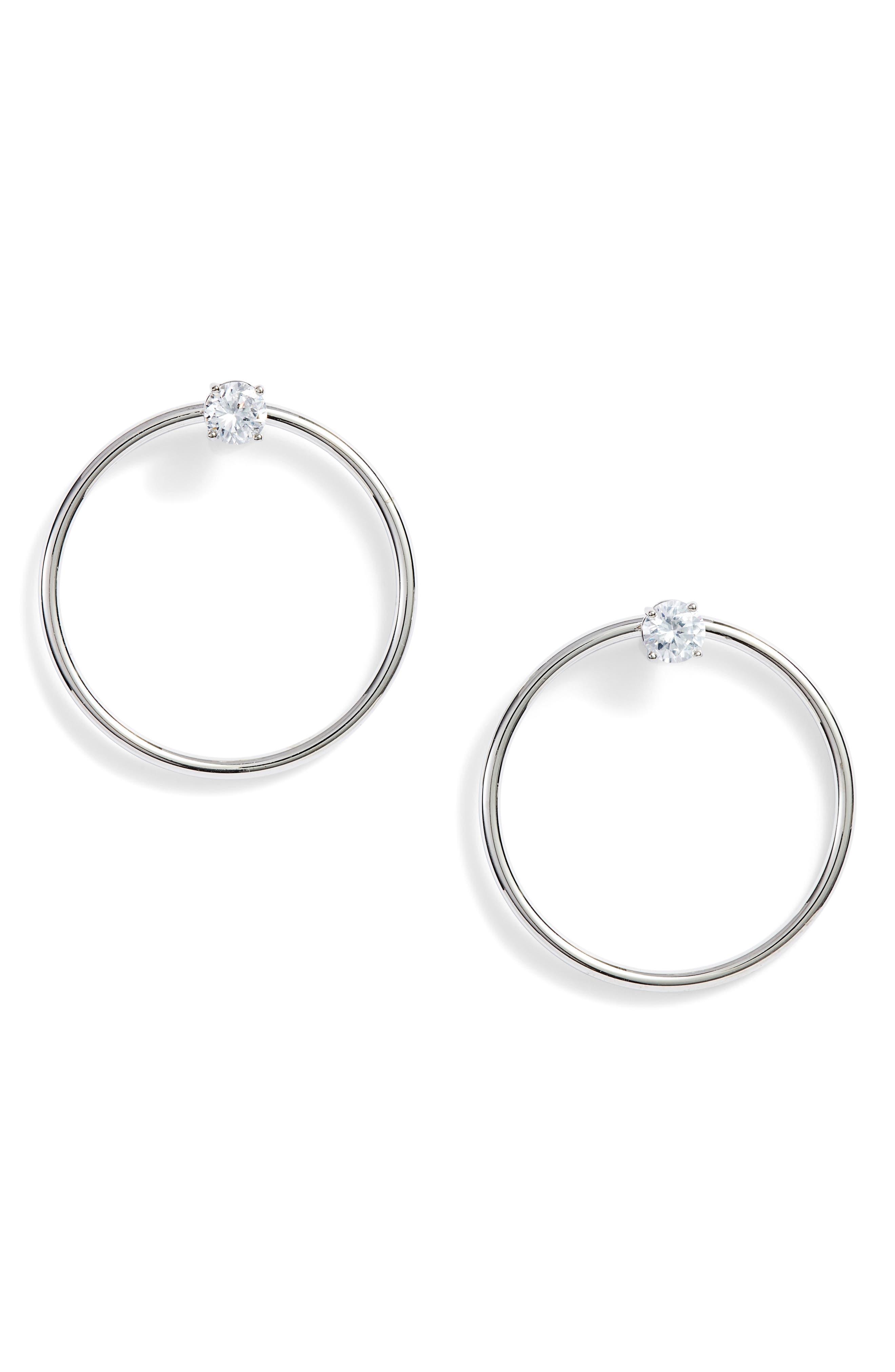 Crystal Stud Hoop Earrings,                             Main thumbnail 1, color,                             041