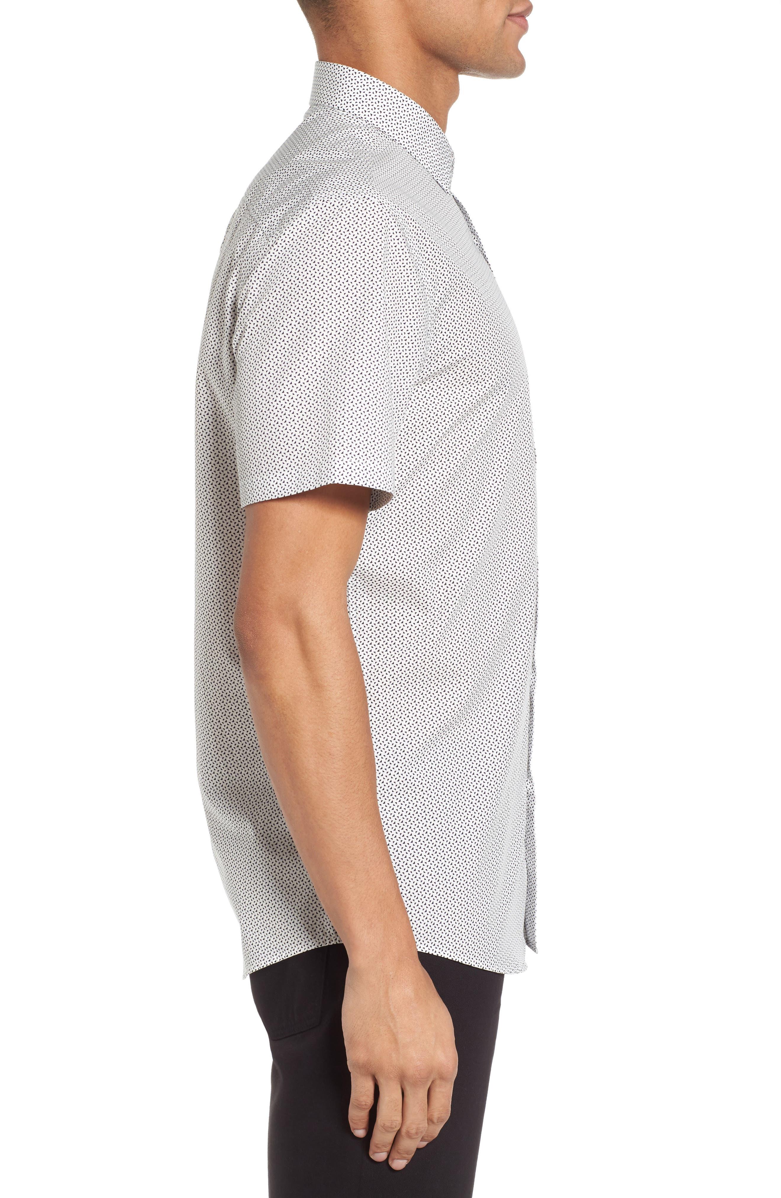 Slim Fit Print Short Sleeve Sport Shirt,                             Alternate thumbnail 3, color,                             100