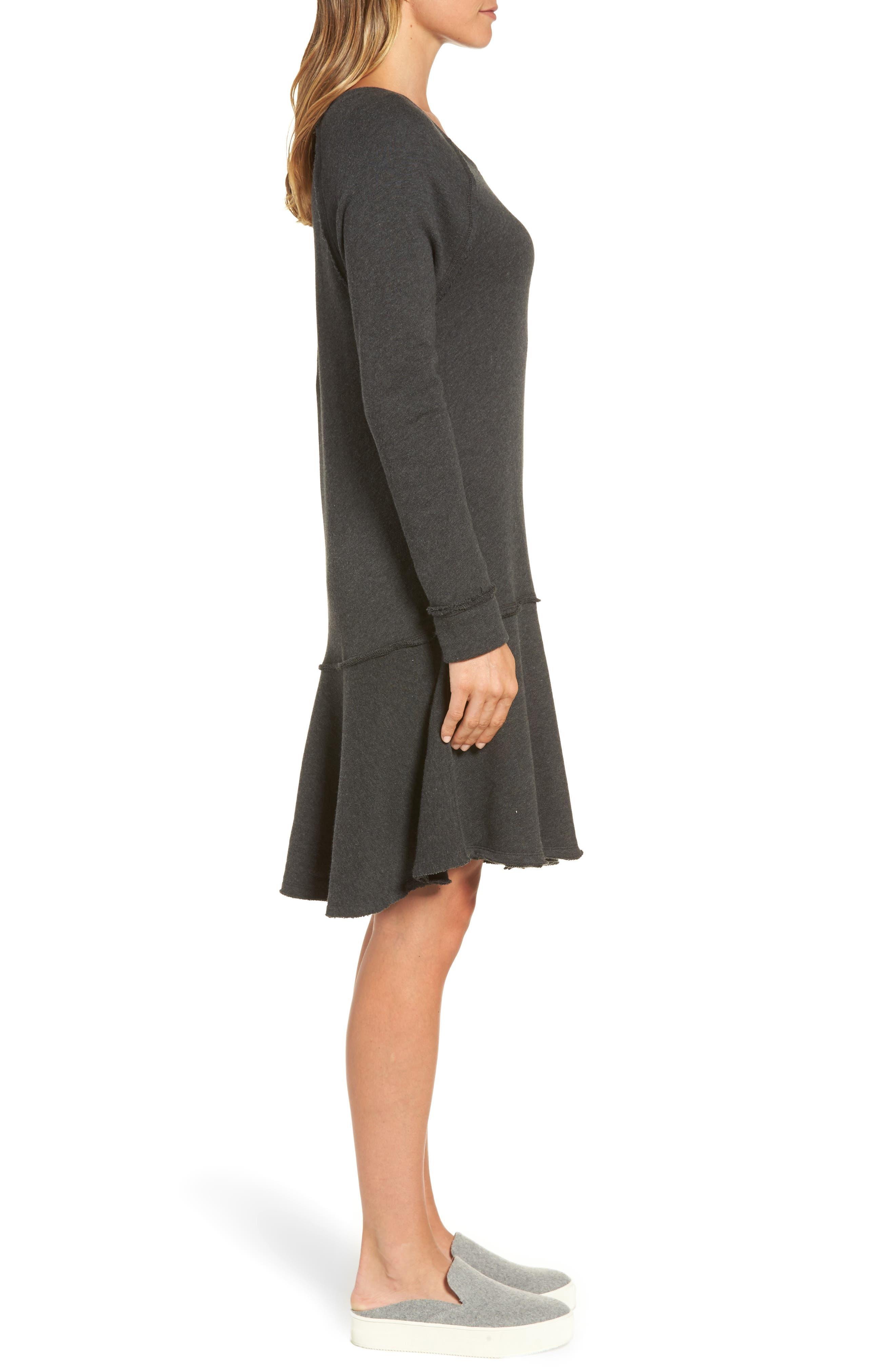 Ruffle Hem Knit Dress,                             Alternate thumbnail 3, color,                             021