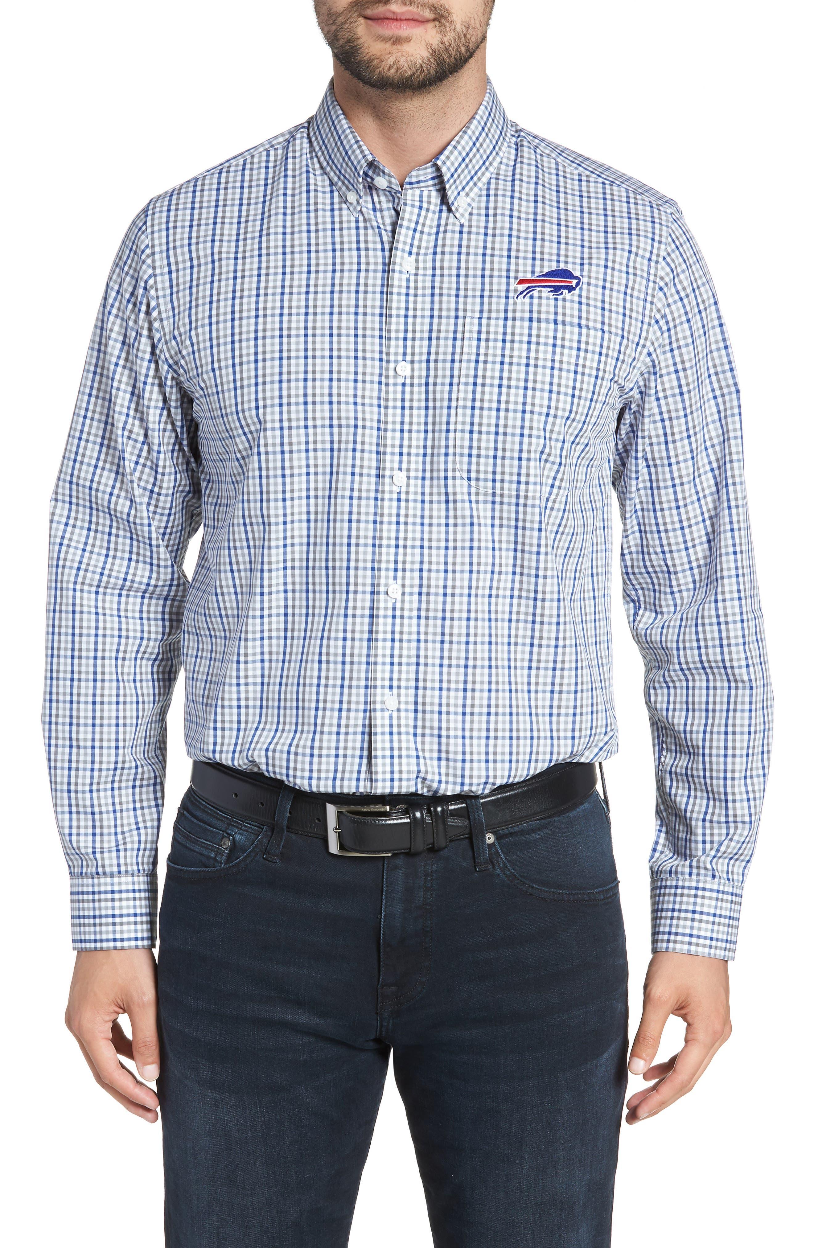 Buffalo Bills - Gilman Regular Fit Plaid Sport Shirt,                         Main,                         color, TOUR BLUE
