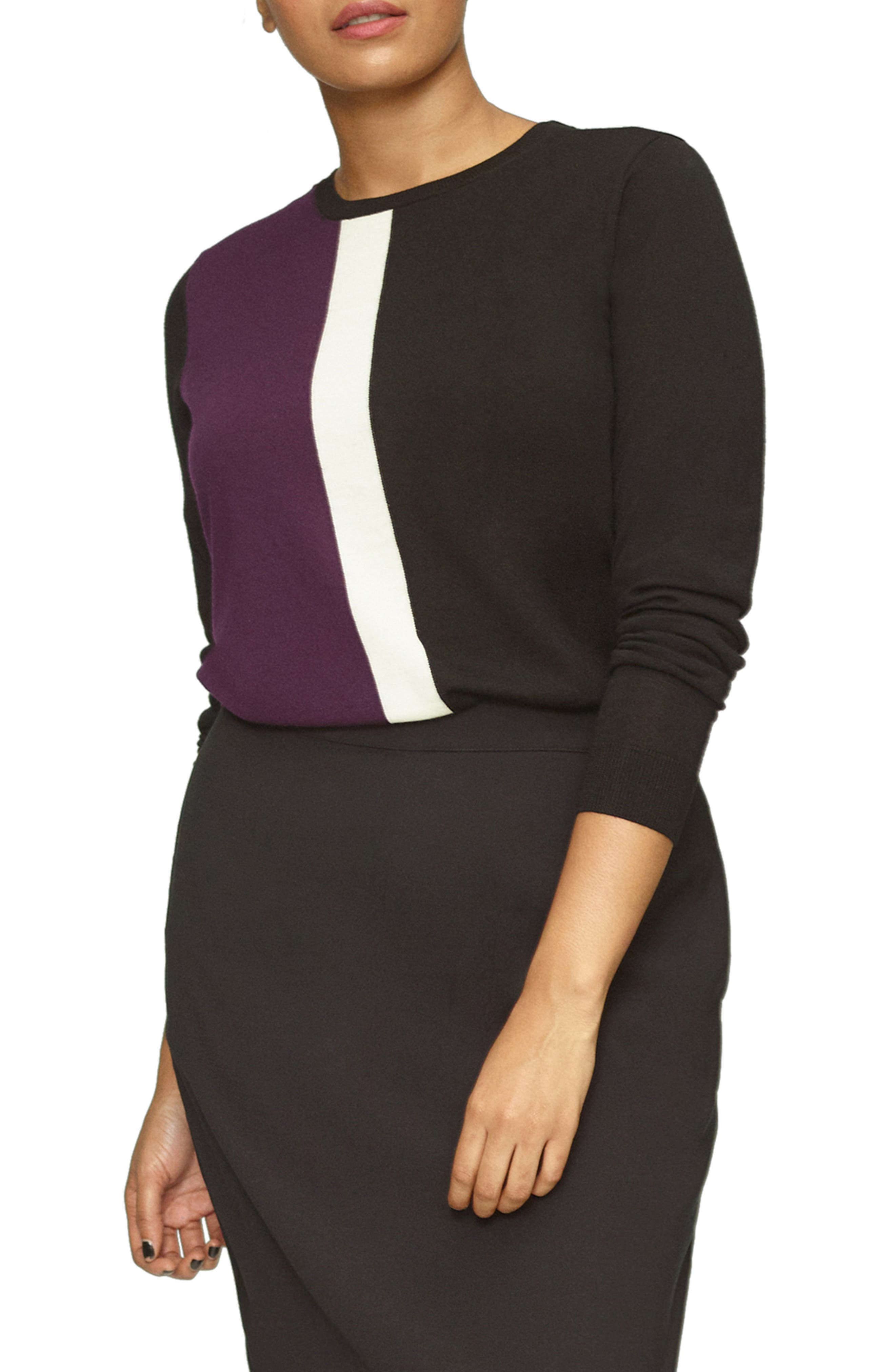 Plus Size Universal Standard Colorblock Merino Wool Sweater, Size M (18W-20W) - Black