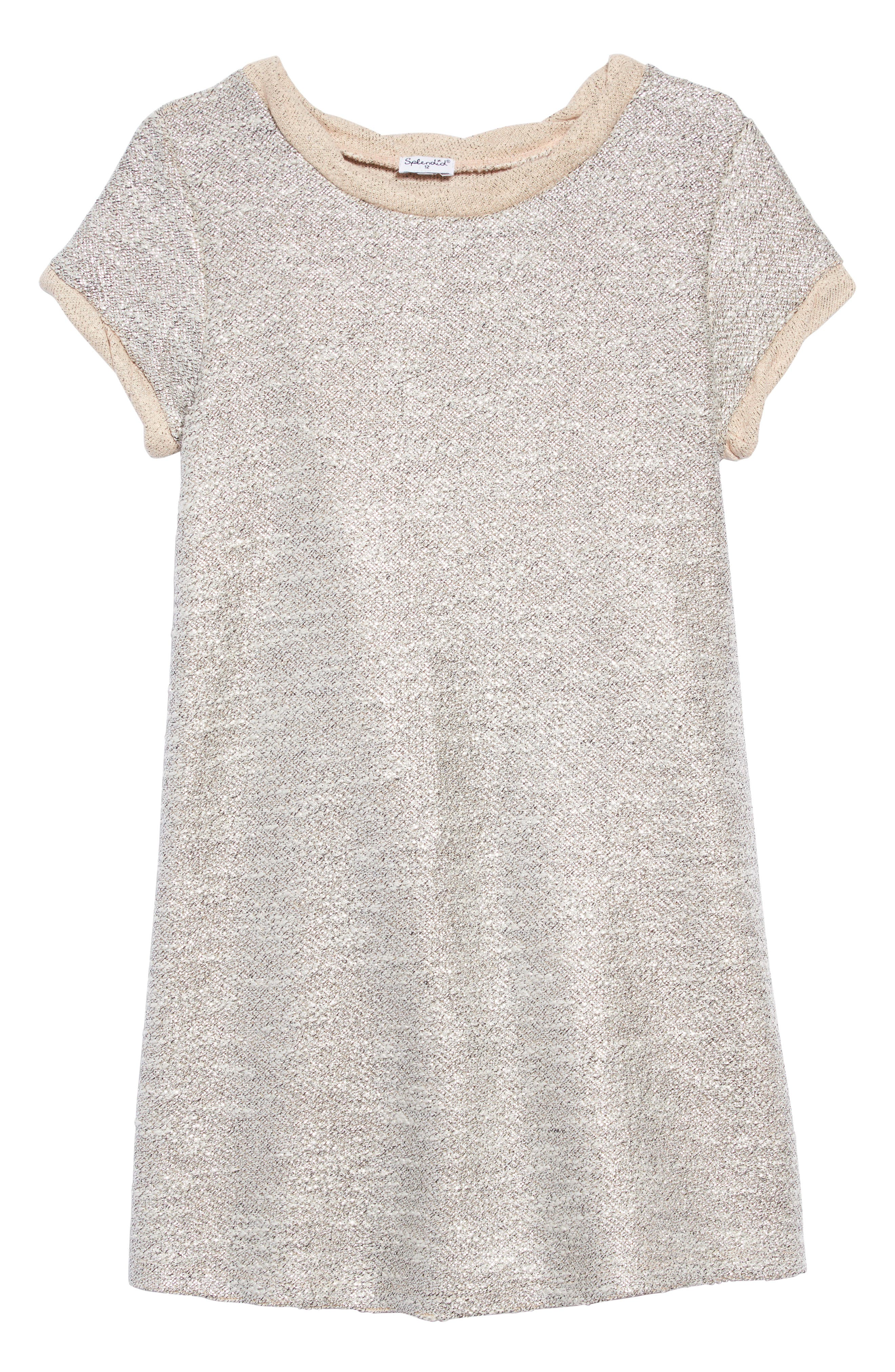 Metallic Shimmer Dress,                             Main thumbnail 1, color,                             PALE DOGWOOD