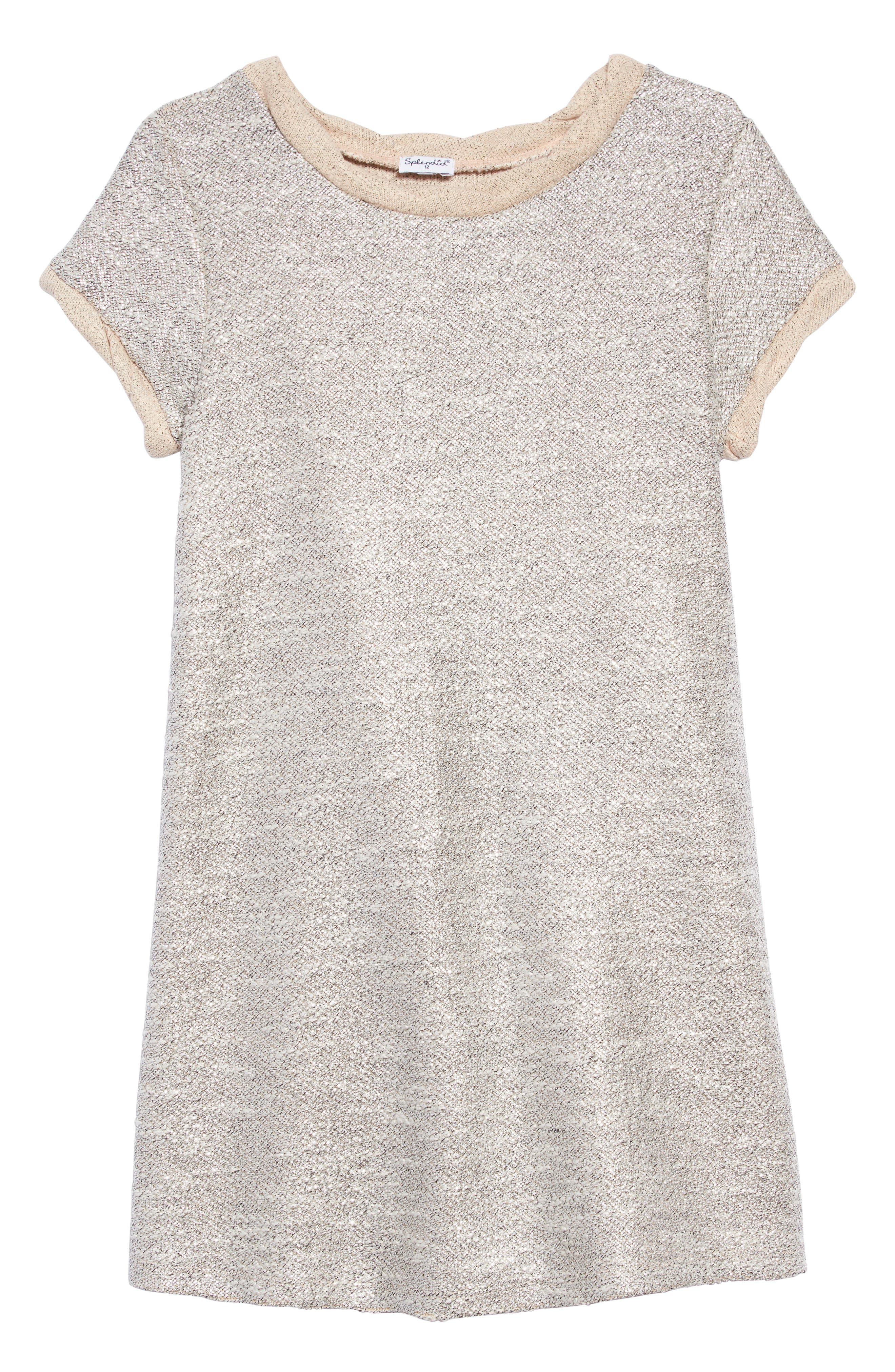 Metallic Shimmer Dress,                         Main,                         color, PALE DOGWOOD