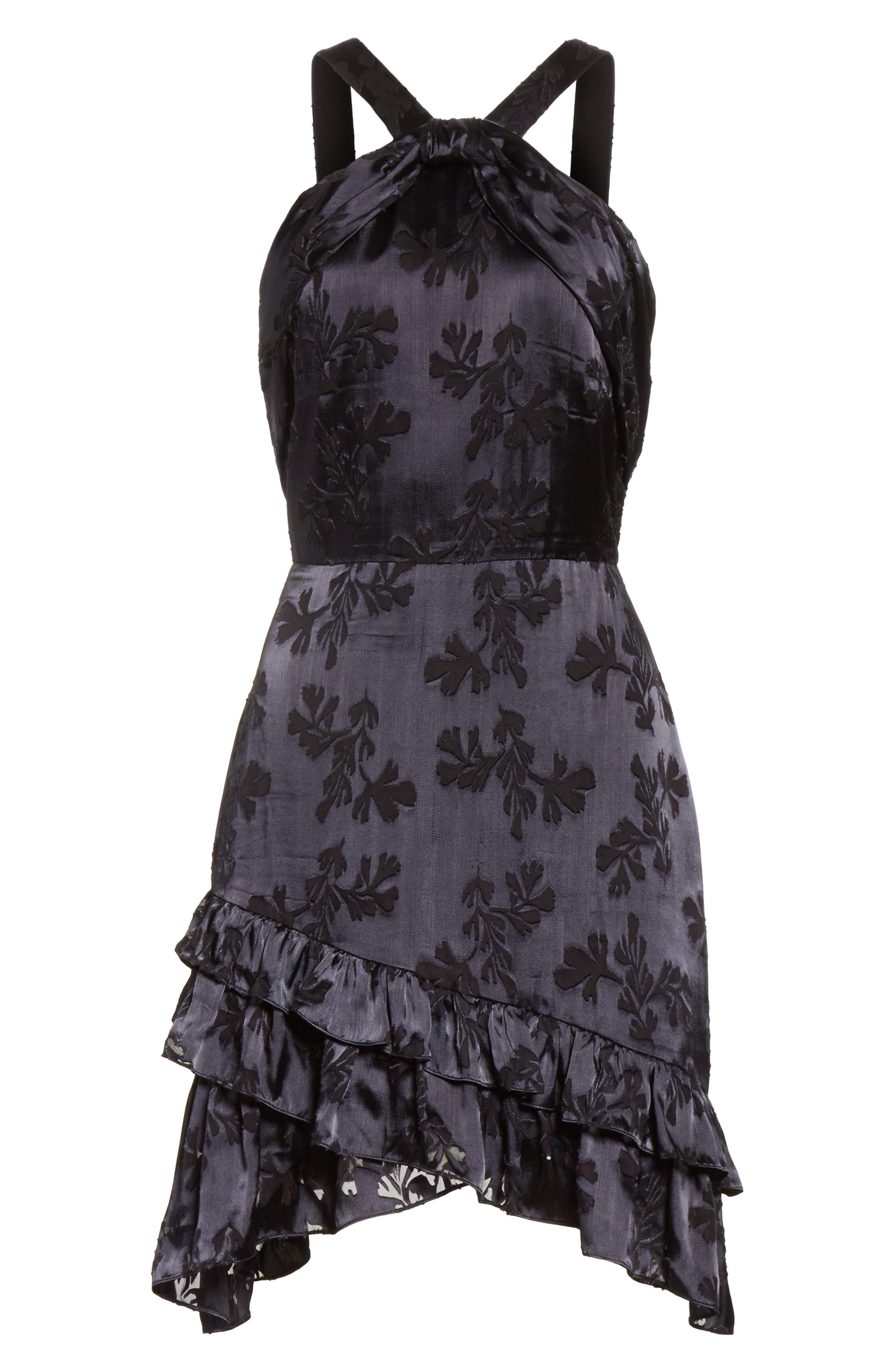 Burnout Silk Satin Dress,                             Alternate thumbnail 6, color,