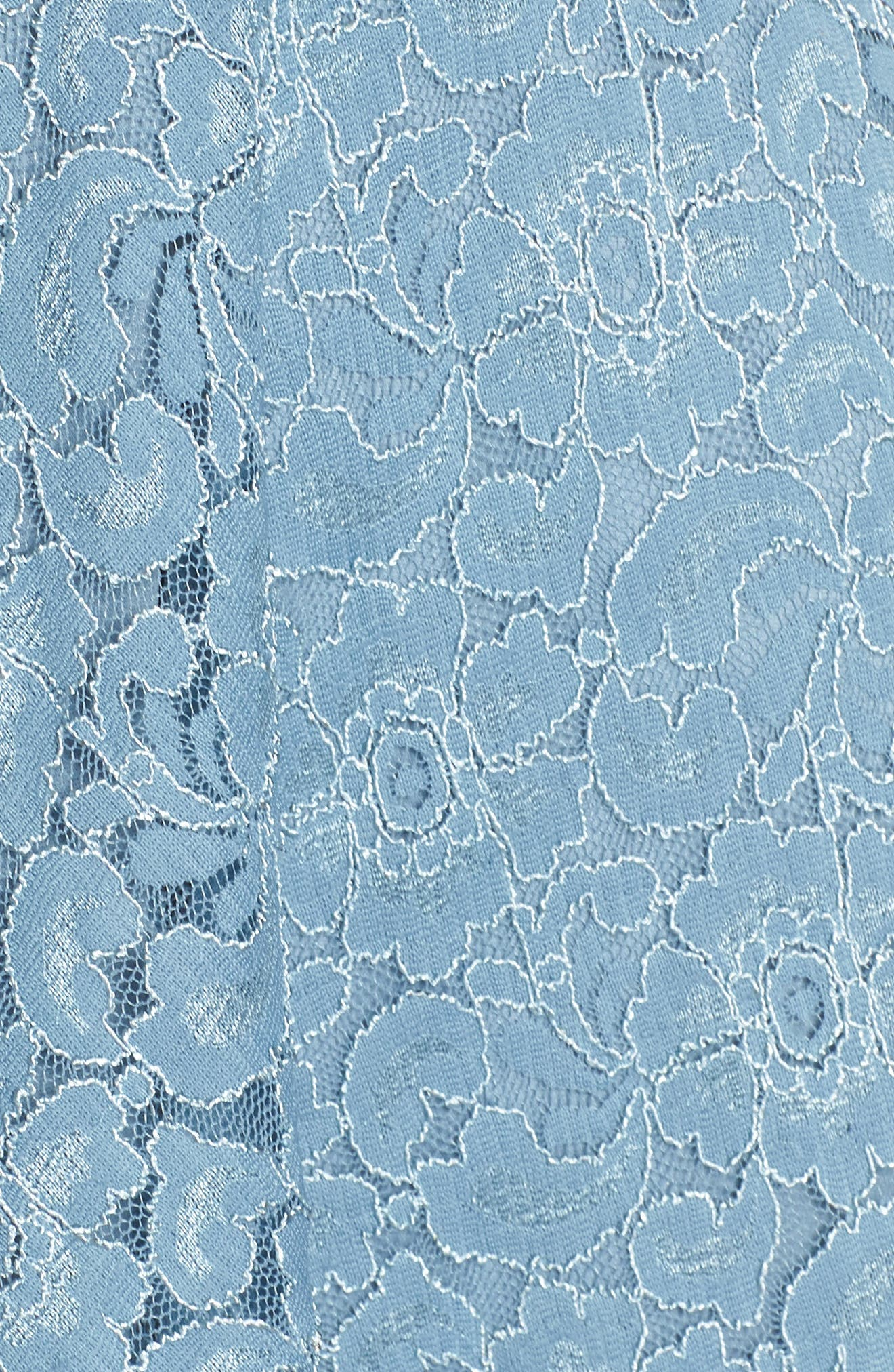 Notch Front Lace Fit & Flare Dress,                             Alternate thumbnail 5, color,                             BLUE