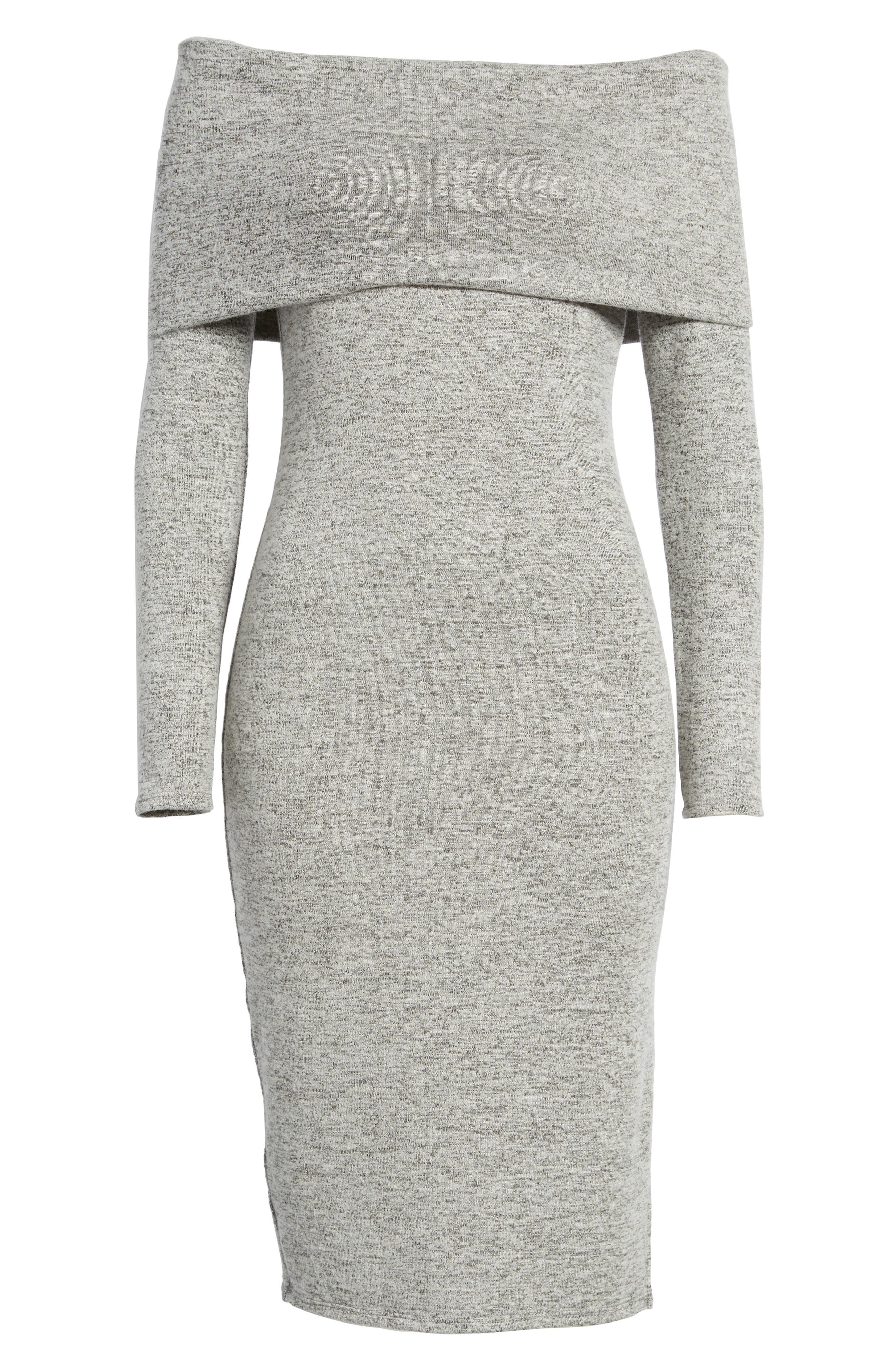 Off the Shoulder Sweater Dress,                             Alternate thumbnail 6, color,                             H GREY