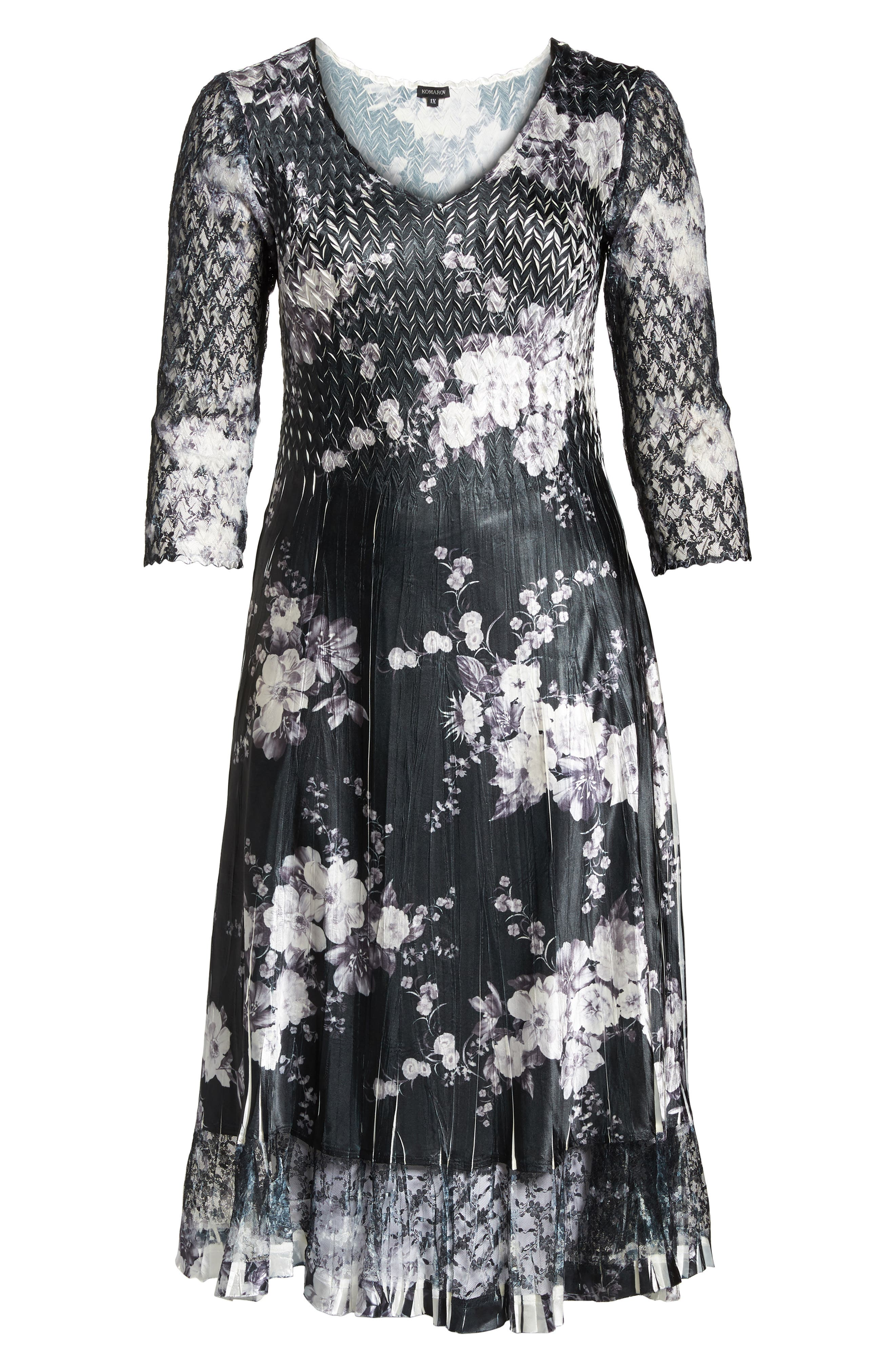Lace & Charmeuse A-Line Dress,                             Alternate thumbnail 6, color,                             001