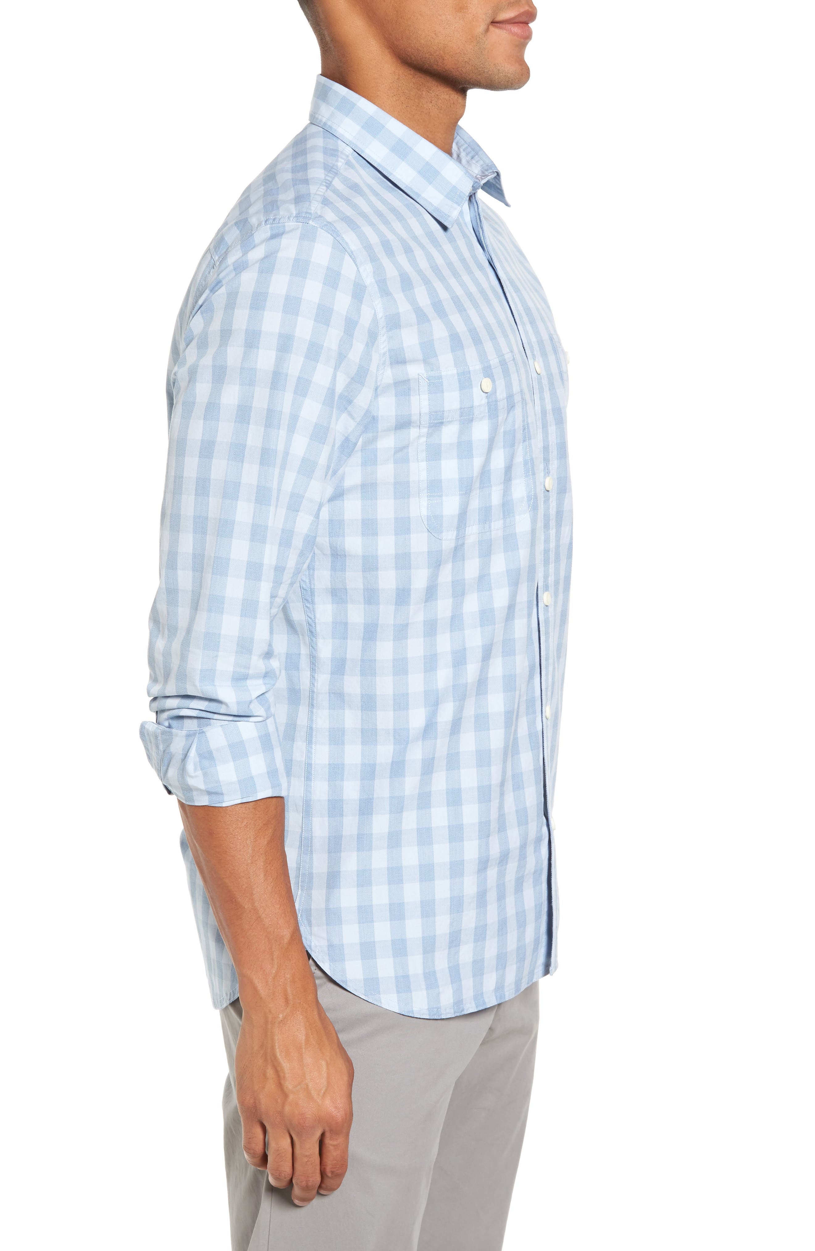 Trim Fit Washed Check Workwear Shirt,                             Alternate thumbnail 3, color,                             450