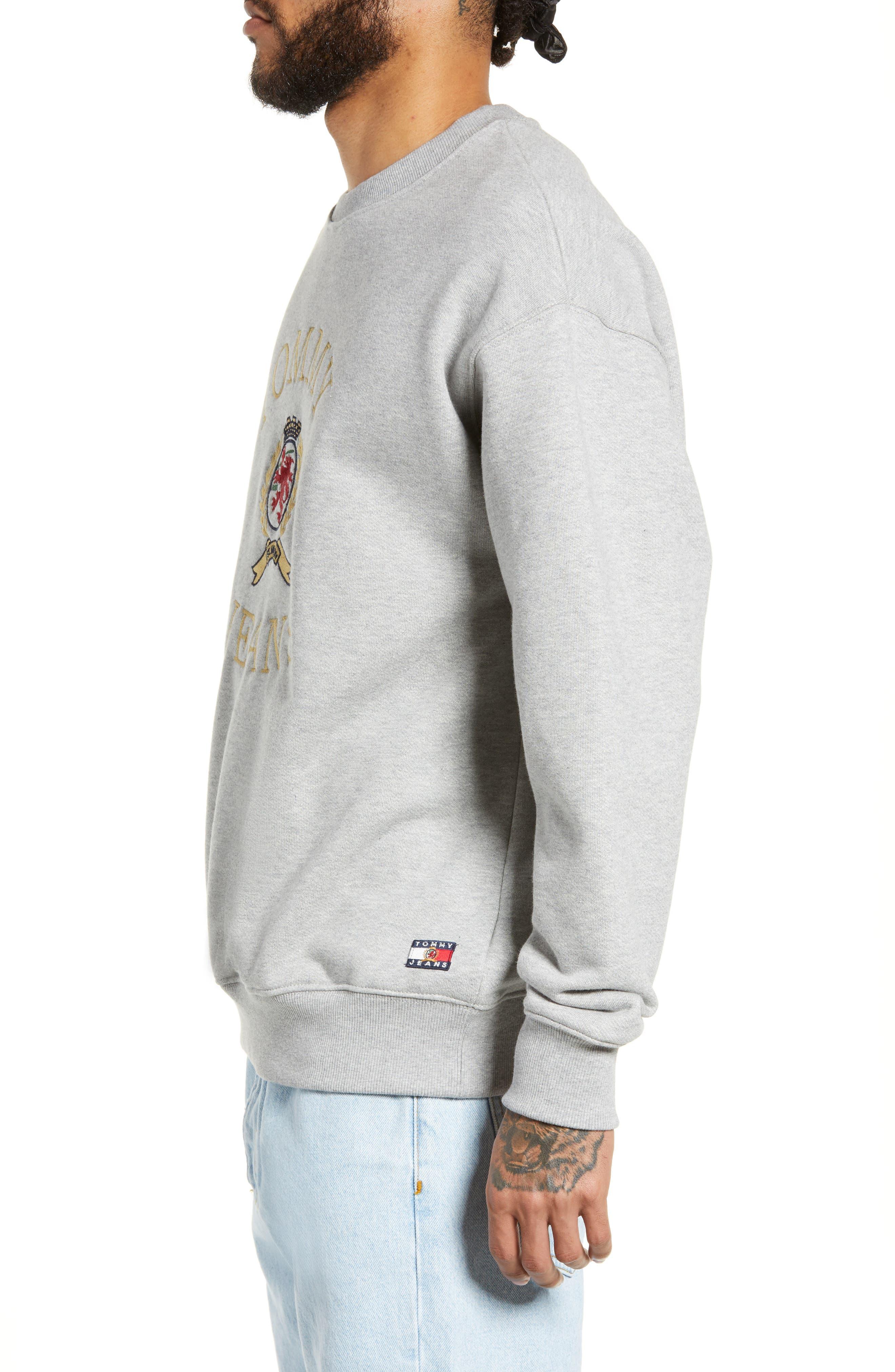 Embroidered Crest Sweatshirt,                             Alternate thumbnail 3, color,                             GREY HTR