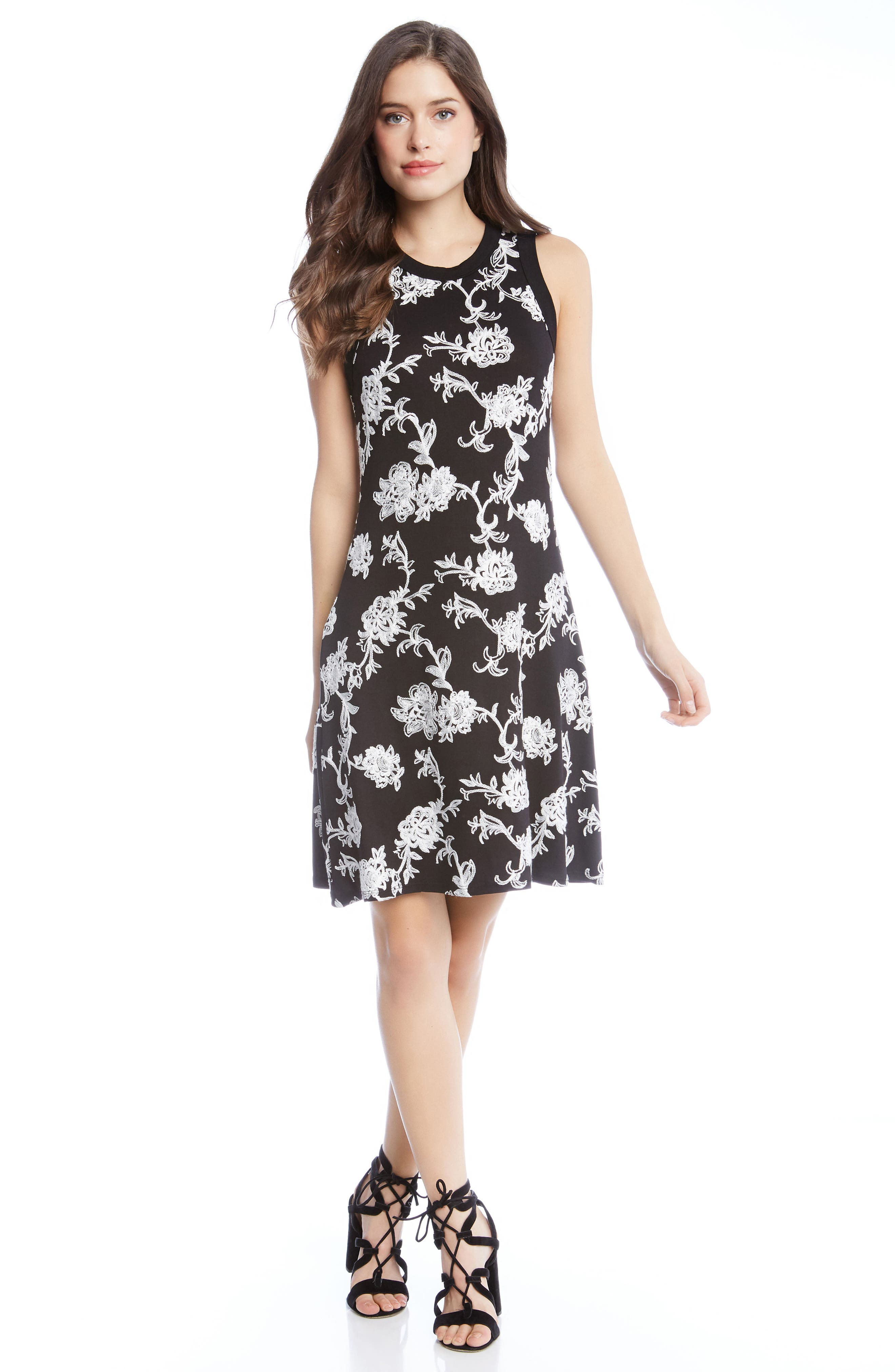 Embroidered Knit Dress,                             Alternate thumbnail 3, color,                             001