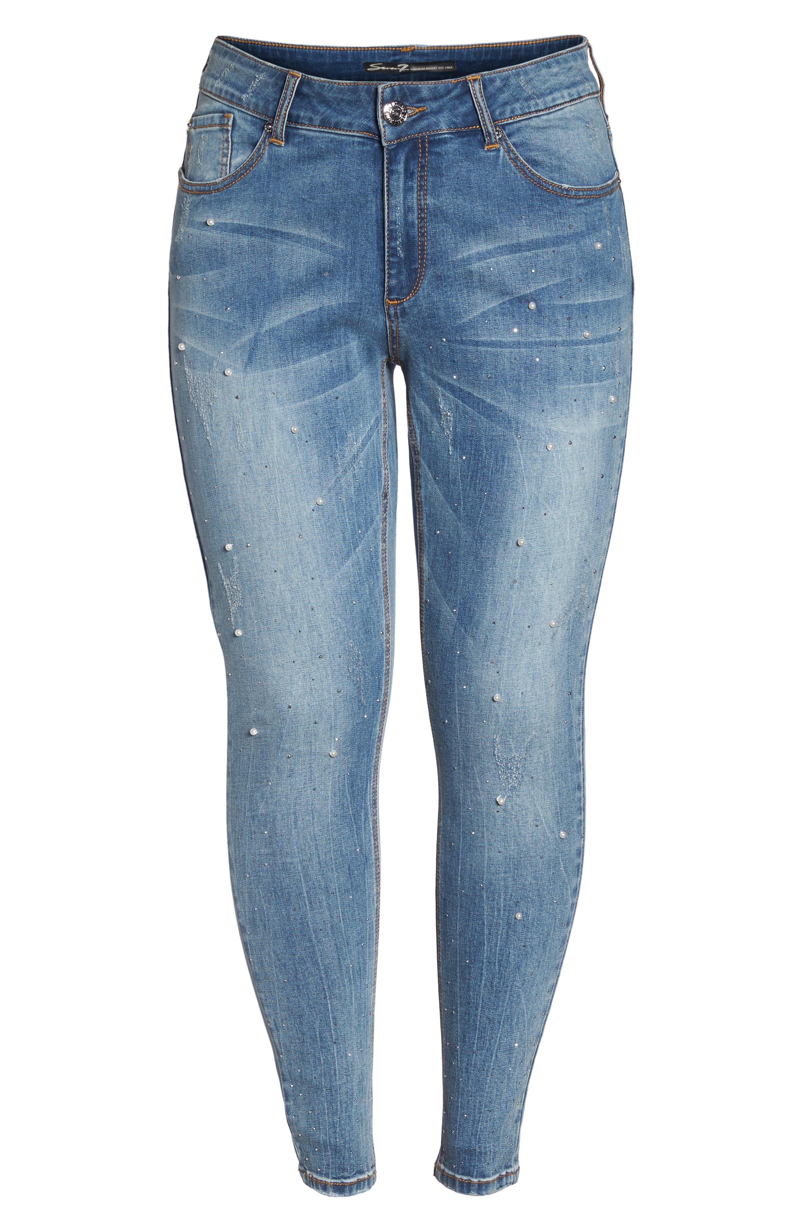 Embellished Skinny Jeans,                             Alternate thumbnail 6, color,                             STARLET