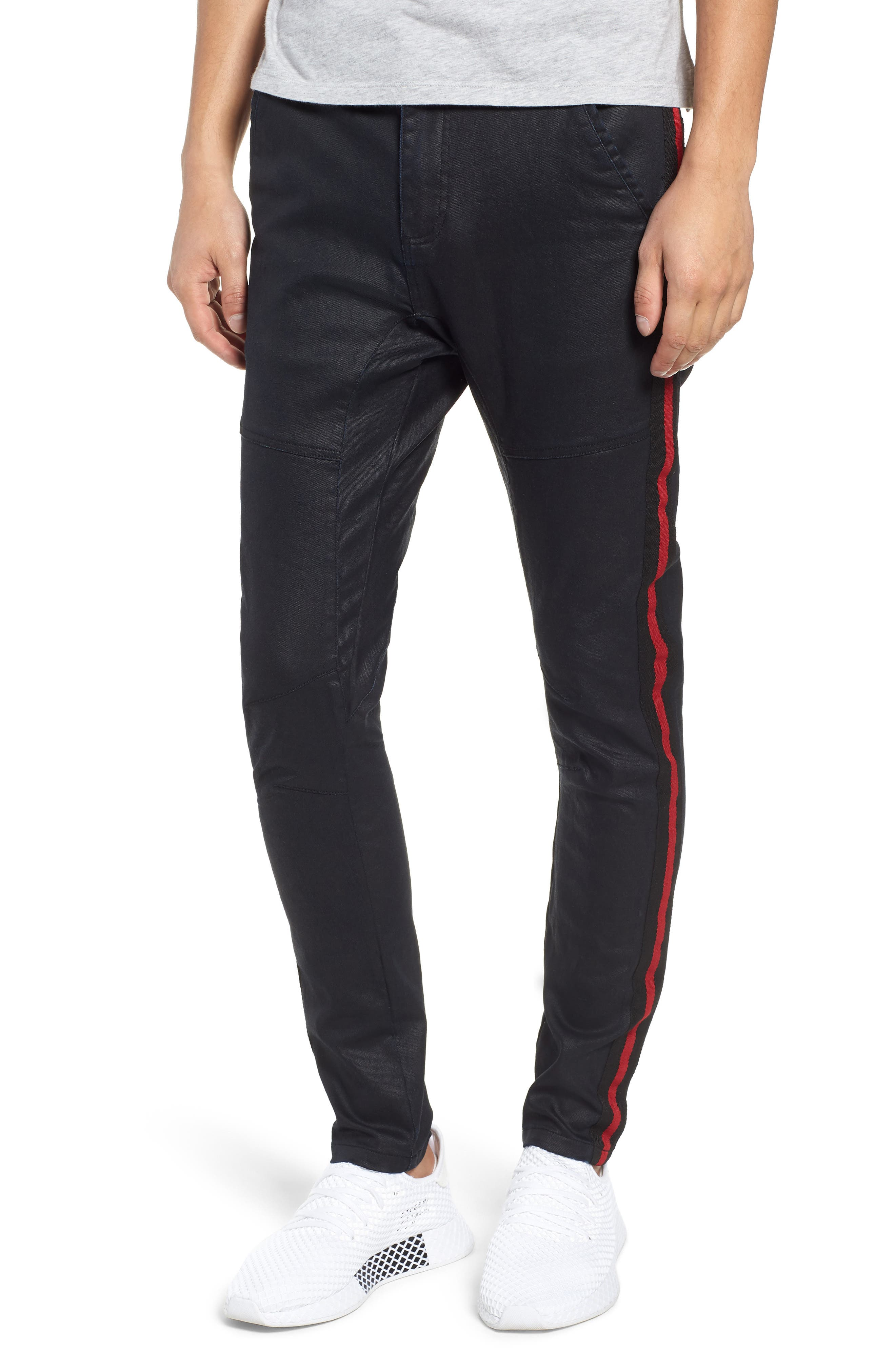 Baseline Taped Skinny Fit Jeans,                             Main thumbnail 1, color,                             WAX BLACK RED STRIPE