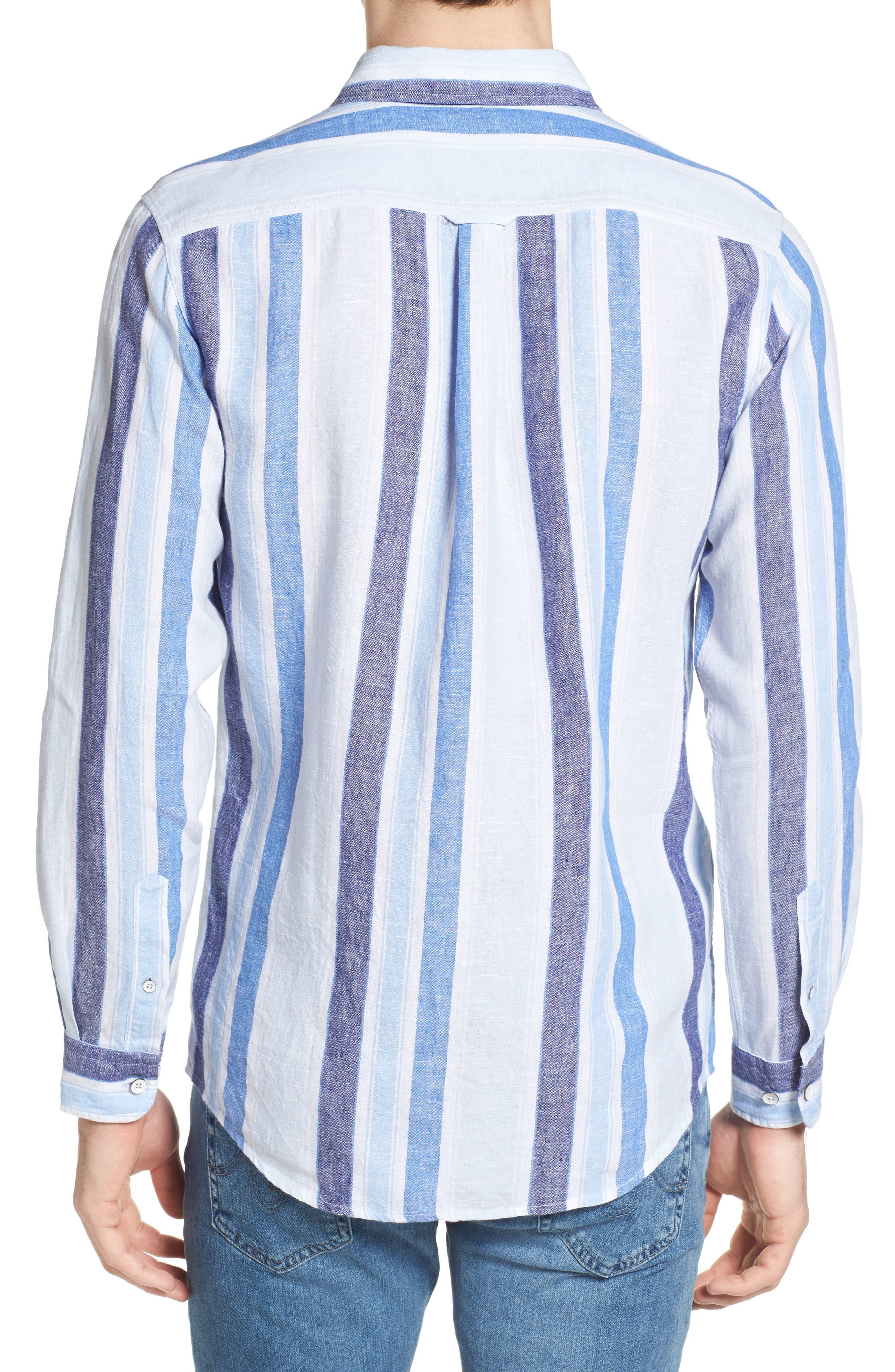 Glenavy Stripe Linen Sport Shirt,                             Alternate thumbnail 2, color,                             432