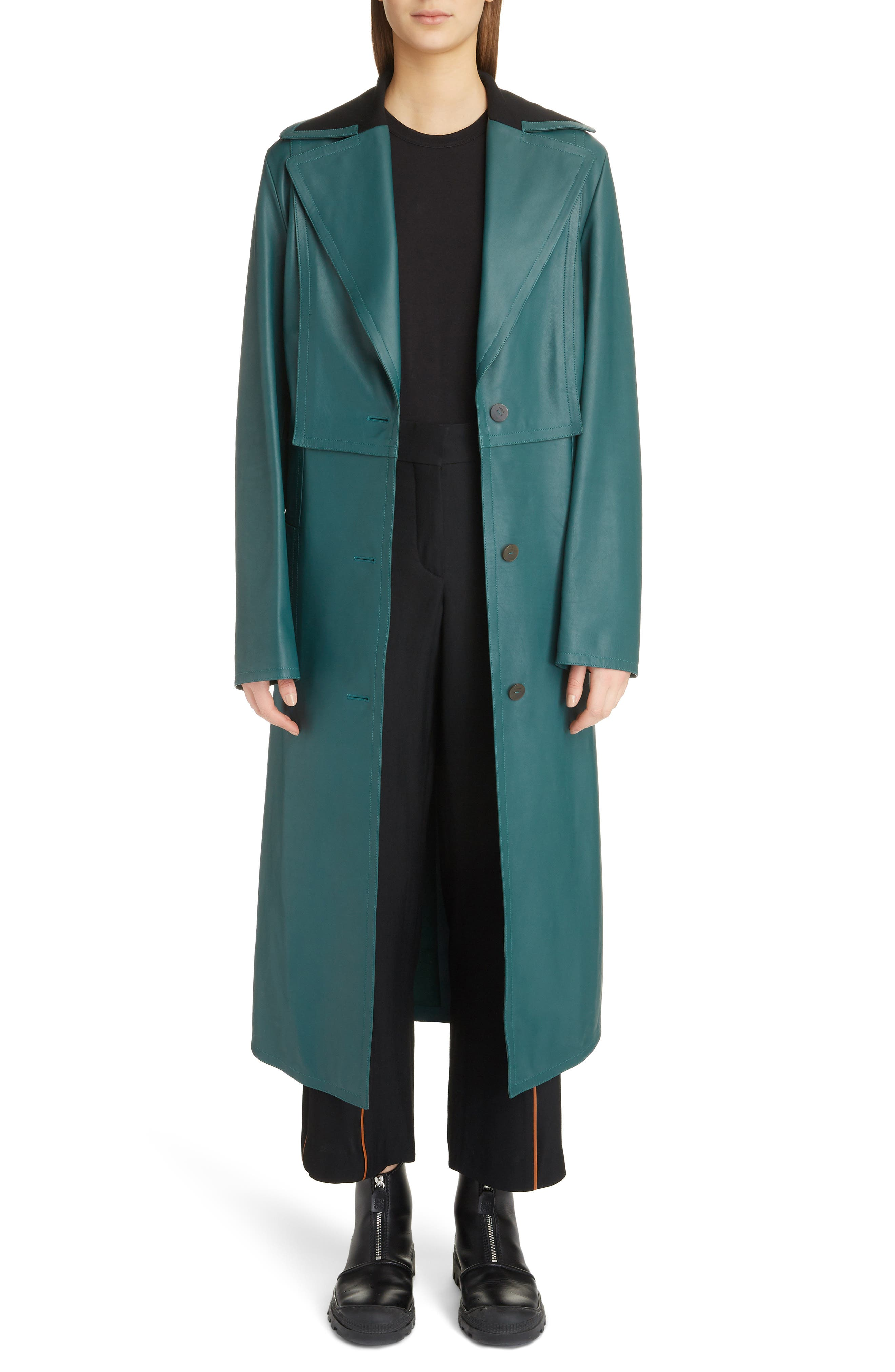 Jersey Panel Leather Trench Coat in Green
