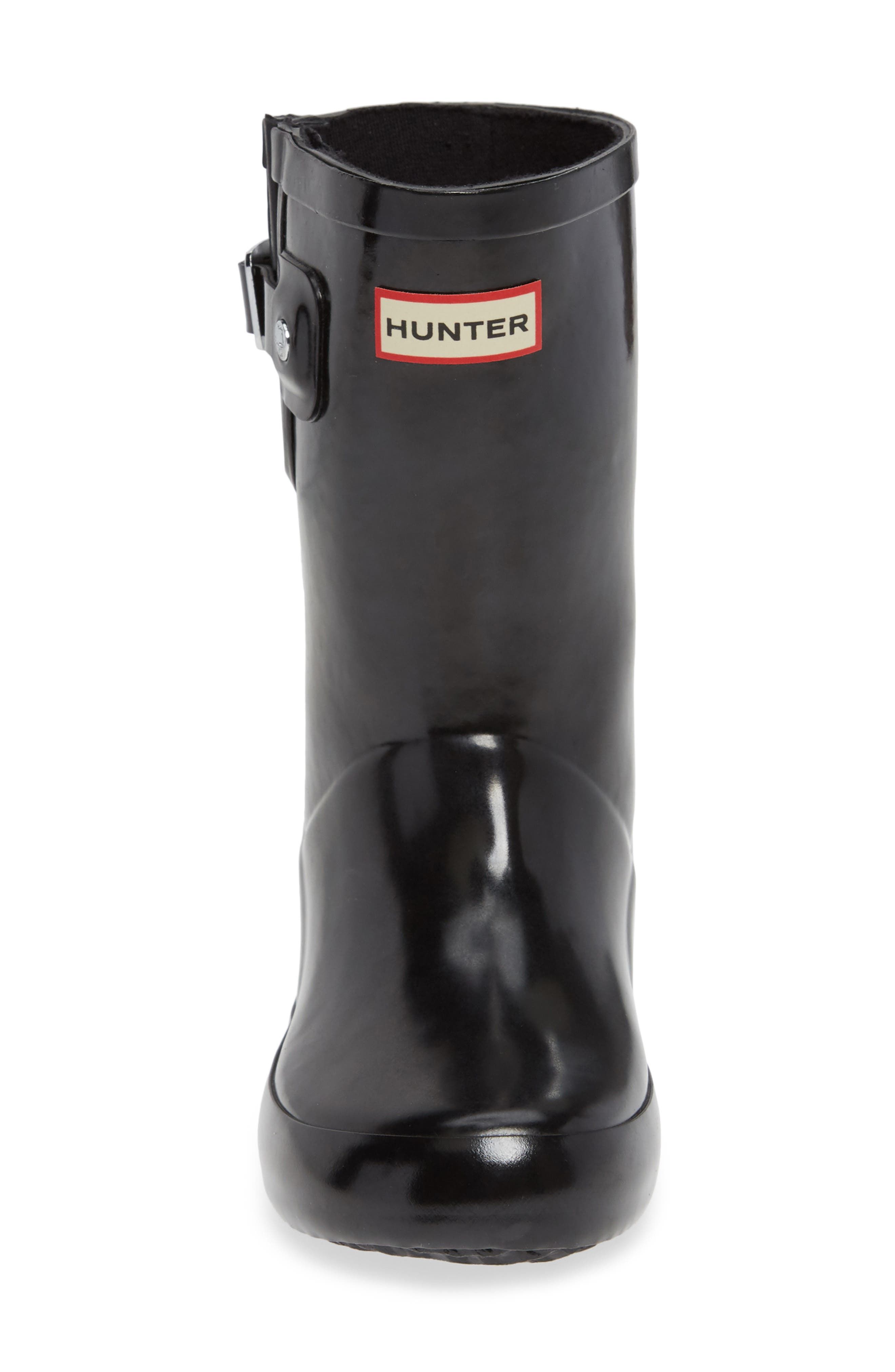 Original Flat Sole Gloss Rain Boot,                             Alternate thumbnail 4, color,                             BLACK