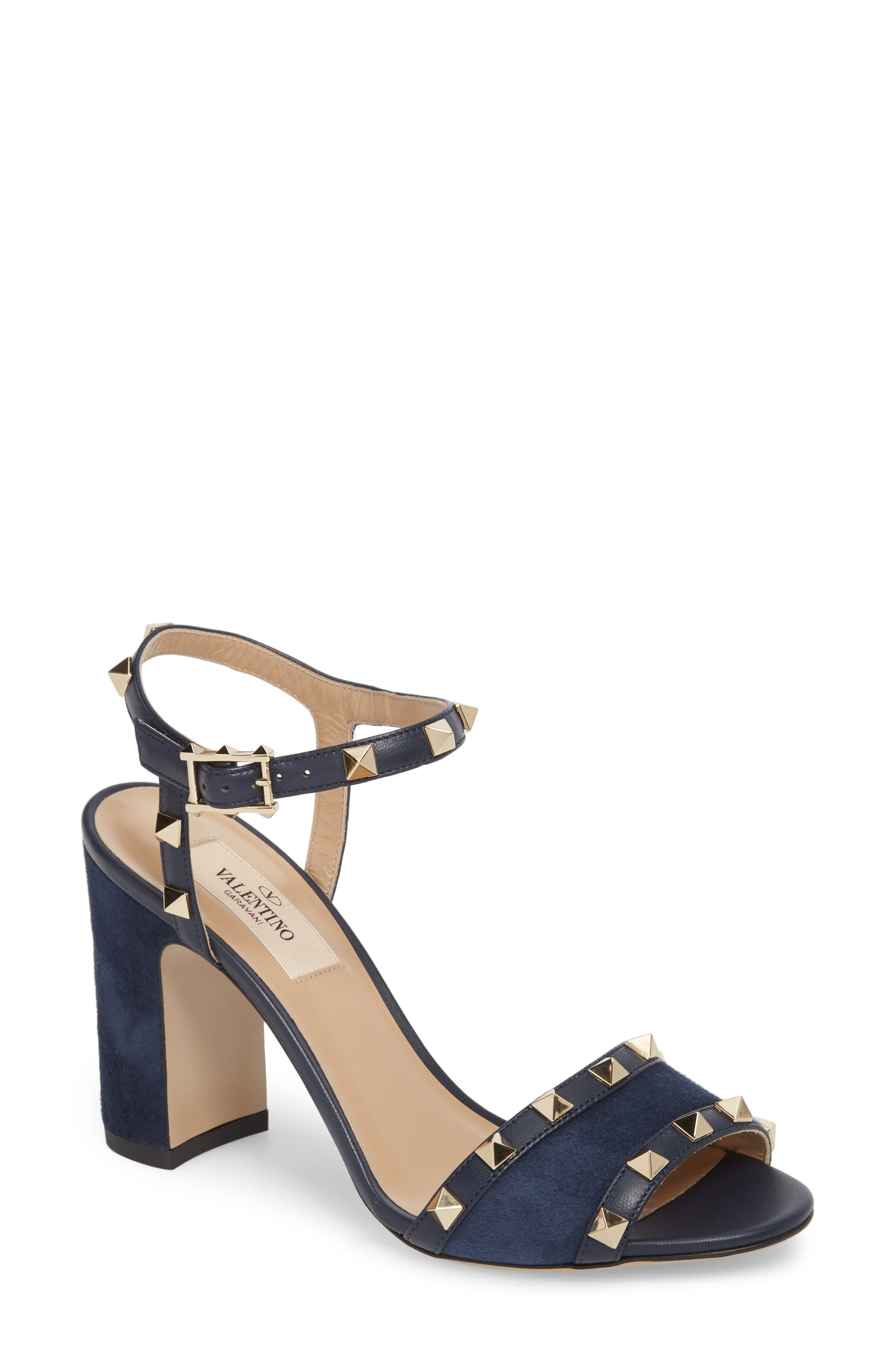 Rockstud Suede Sandal,                         Main,                         color, MARINE SUEDE