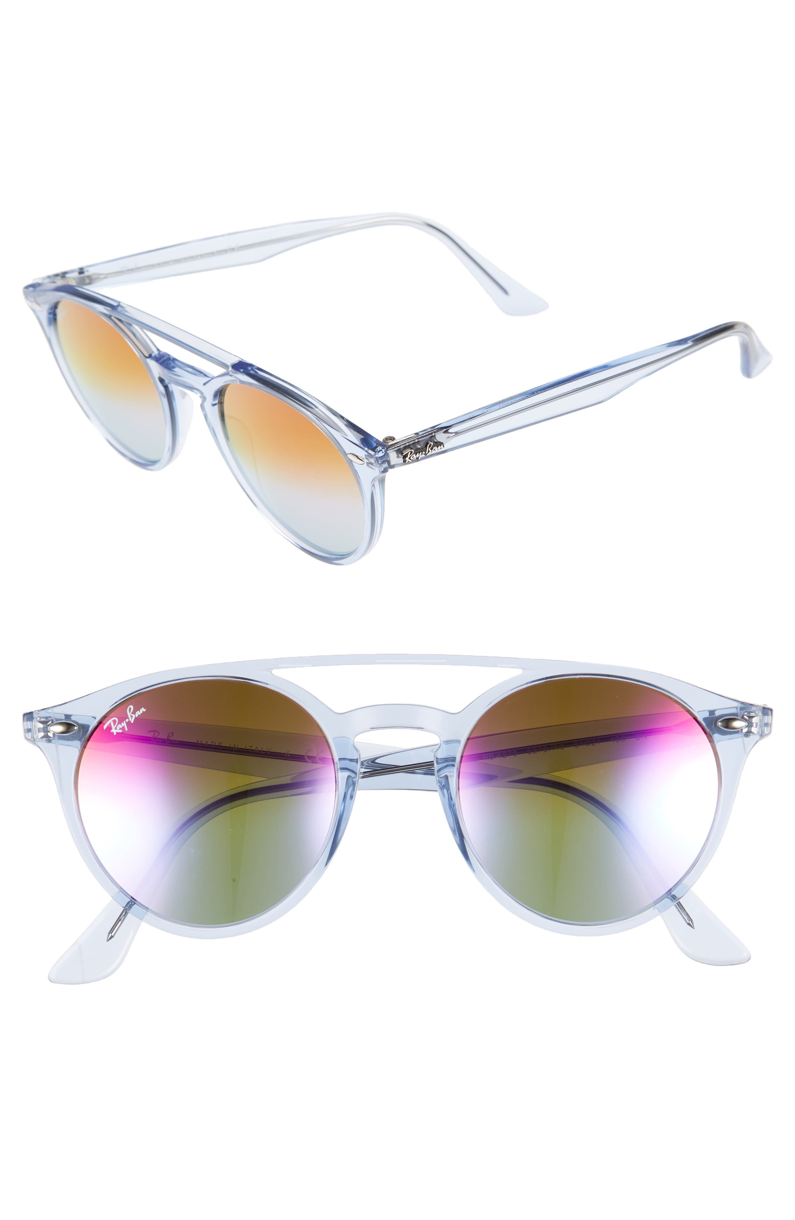 51mm Mirrored Rainbow Sunglasses,                             Alternate thumbnail 2, color,                             428