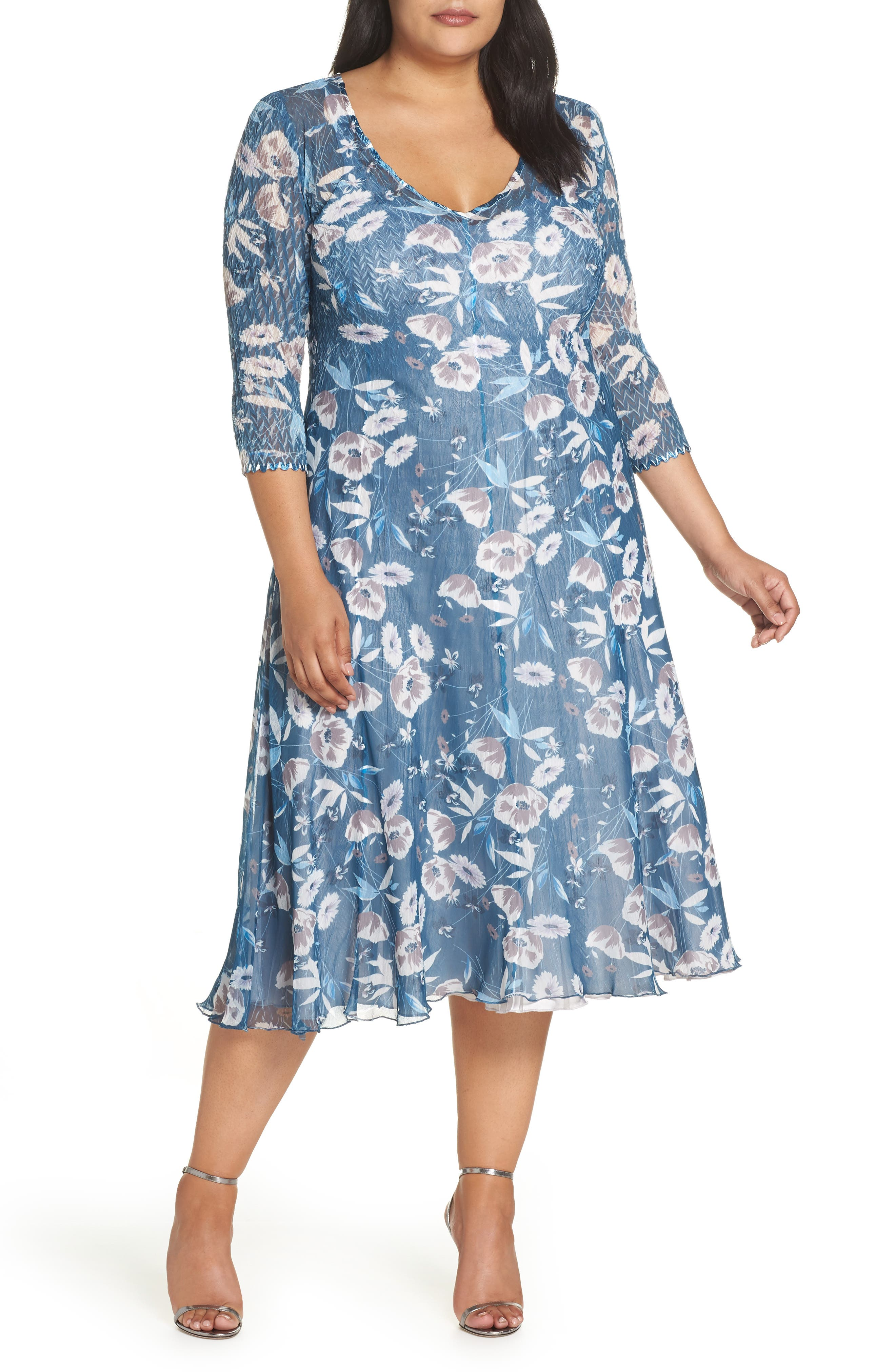 Plus Size Komarov Charmeuse & Chiffon A-Line Dress, Blue/green