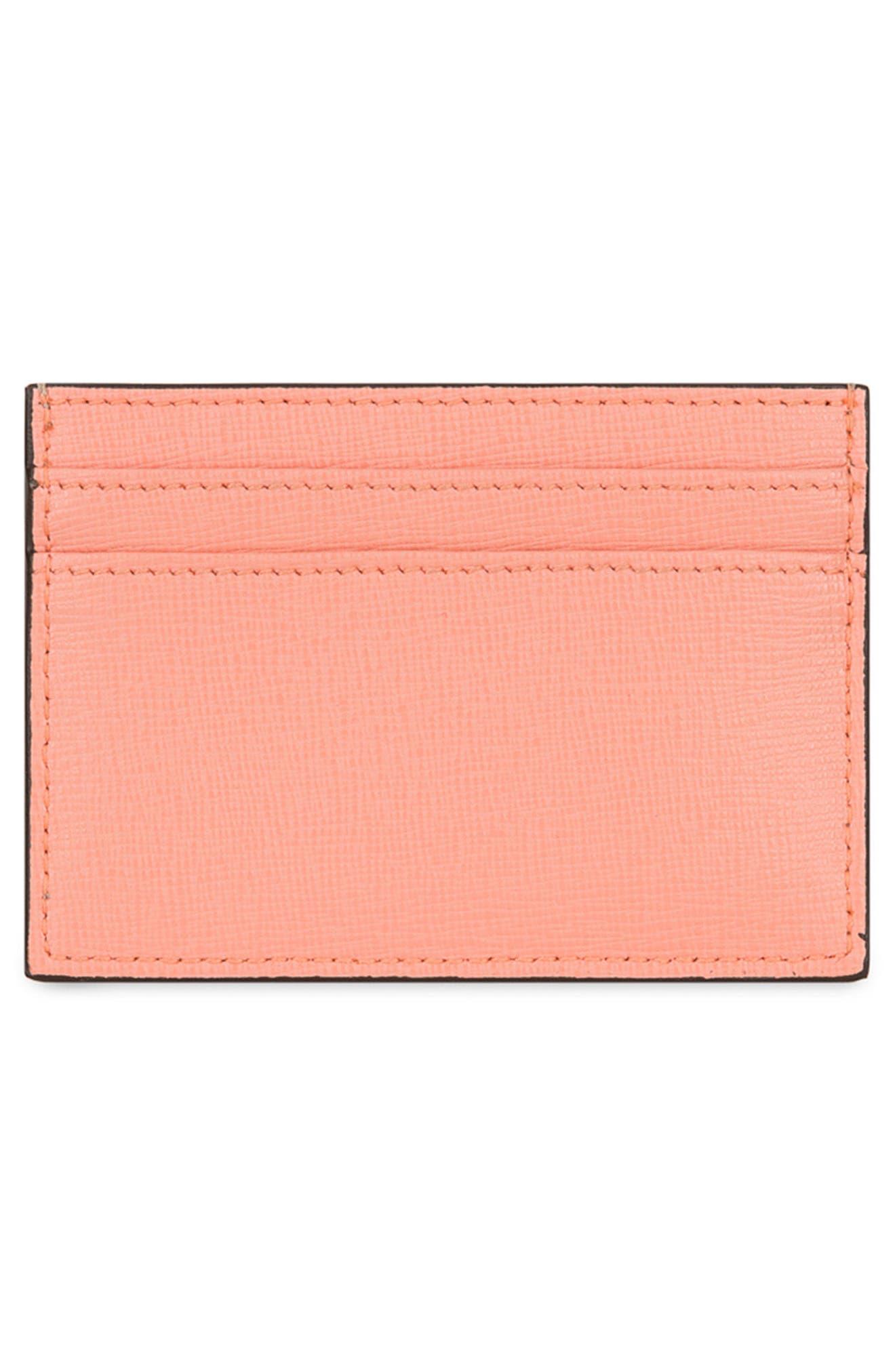 Babylon Saffiano Leather Card Case,                             Alternate thumbnail 8, color,