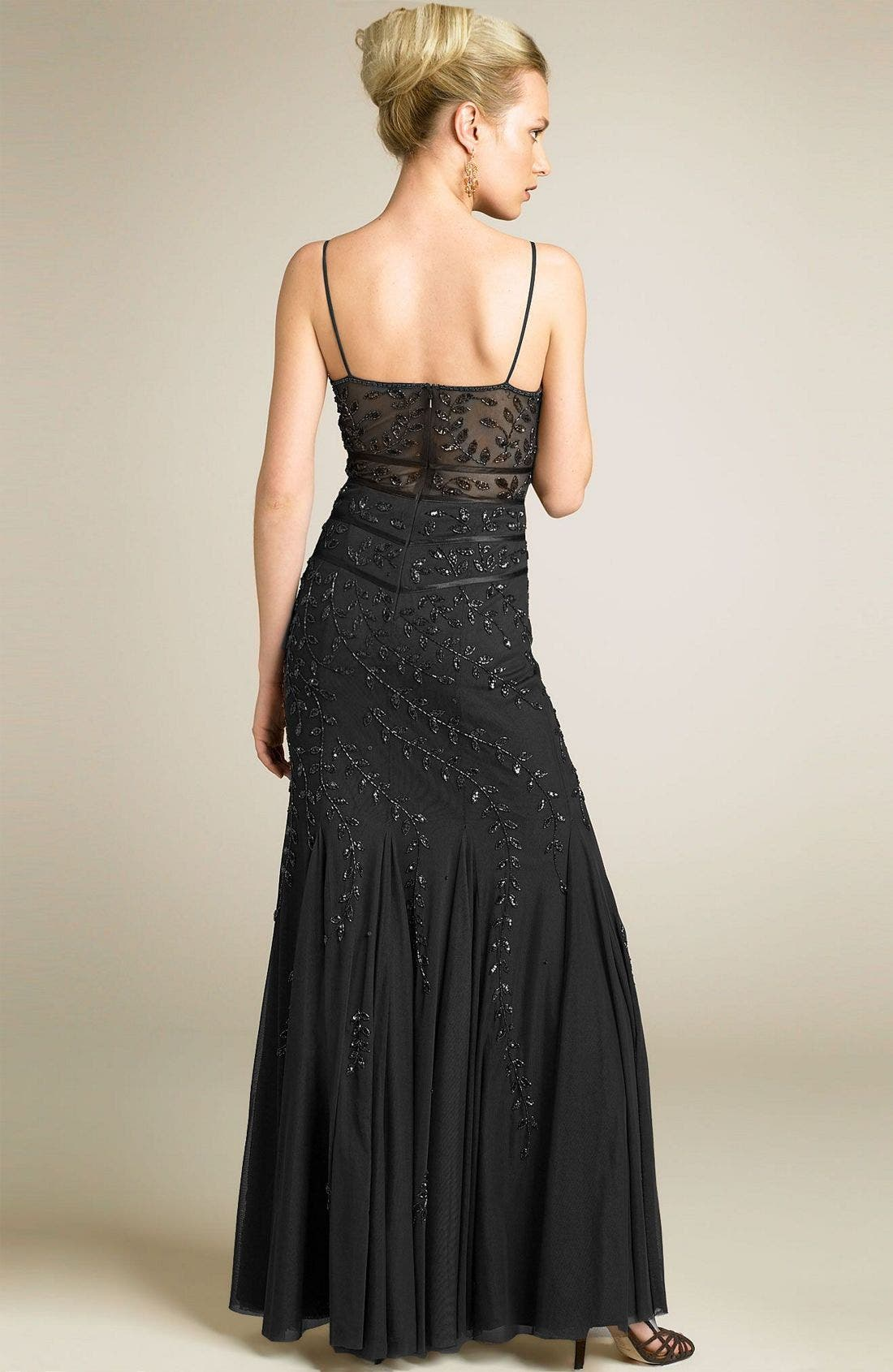 Beaded Illusion Inset Gown,                             Alternate thumbnail 2, color,                             BLK