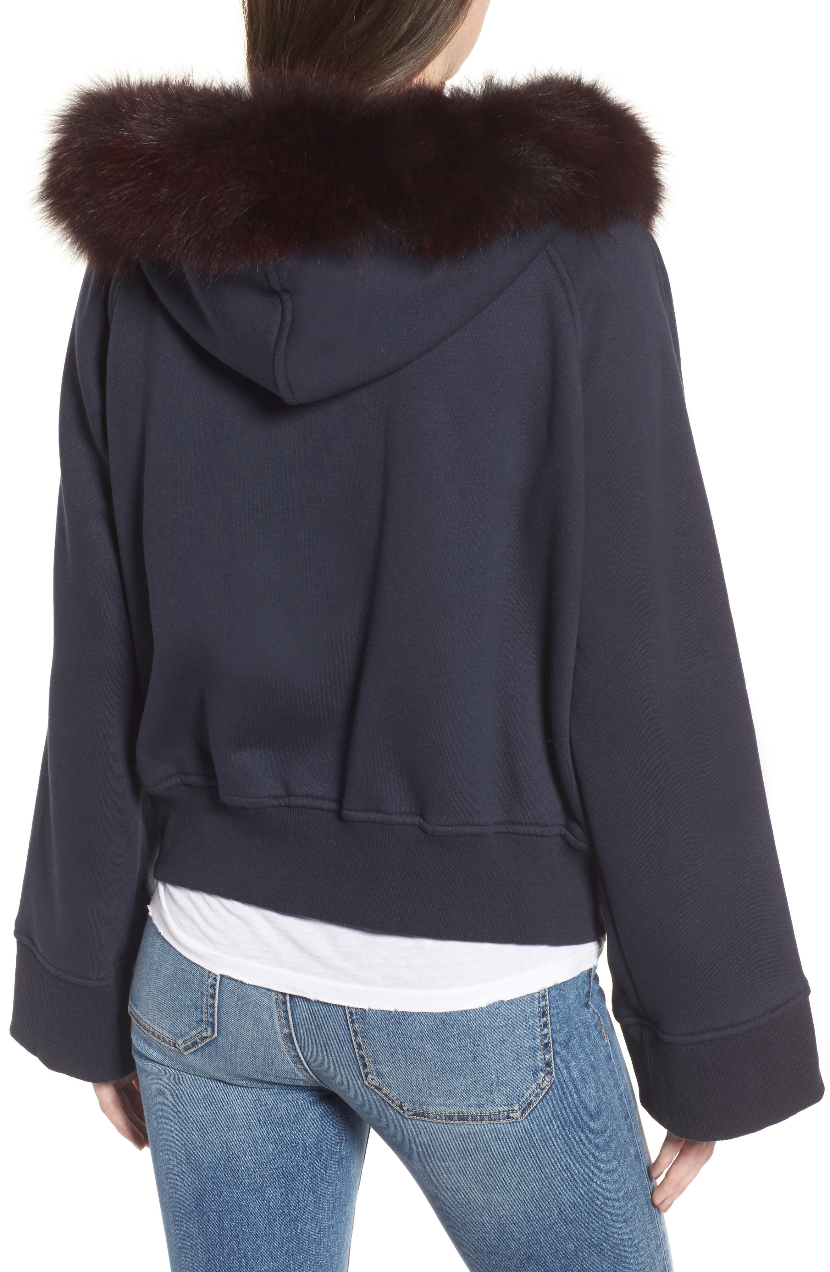 BAGATELLE.CITY The Luxe Hooded Jacket with Genuine Fox Fur Trim,                             Alternate thumbnail 5, color,