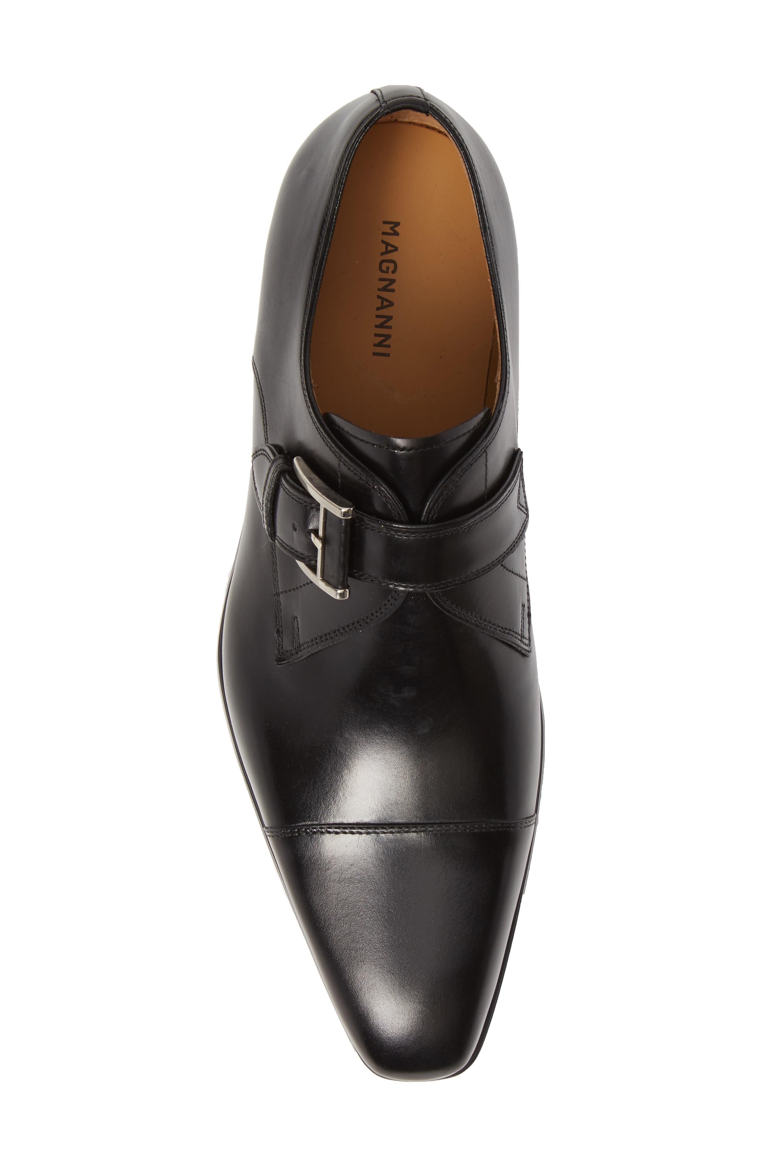Patricio Monk Strap Shoe,                             Alternate thumbnail 5, color,                             BLACK LEATHER