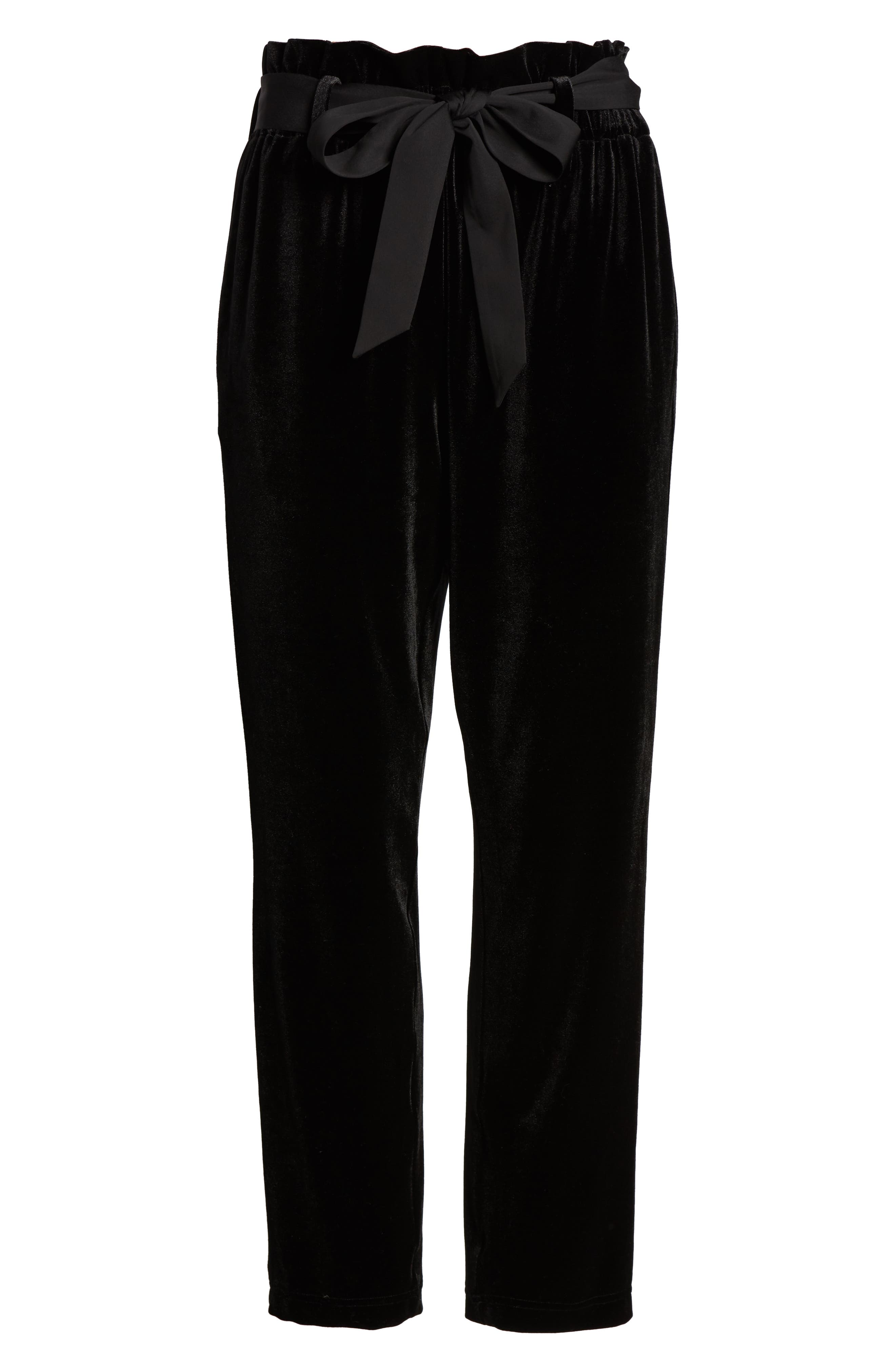 Tie Waist Velvet Pants,                             Alternate thumbnail 7, color,                             001