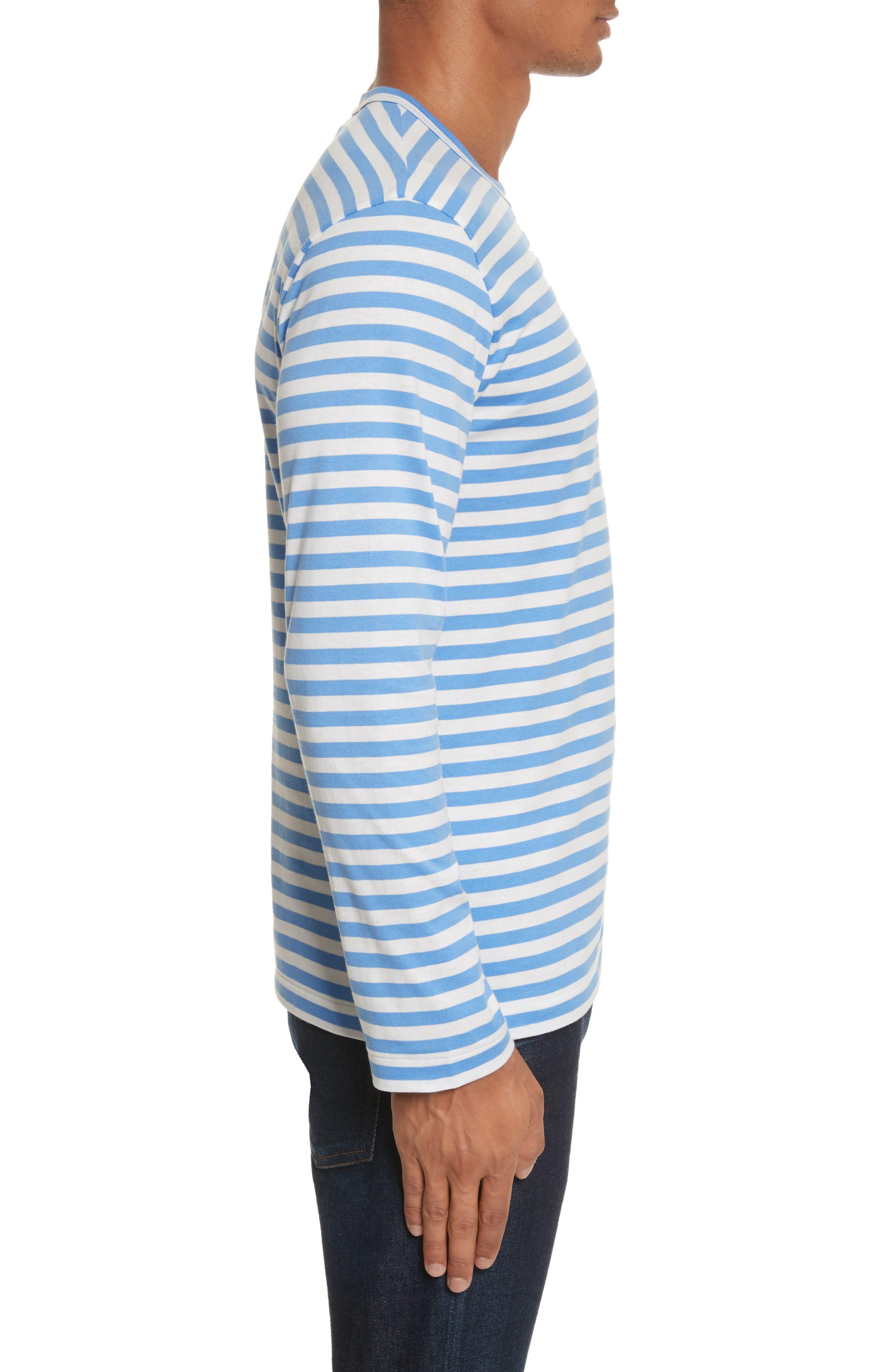 Long Sleeve Stripe Crewneck T-Shirt,                             Alternate thumbnail 3, color,                             BLUE