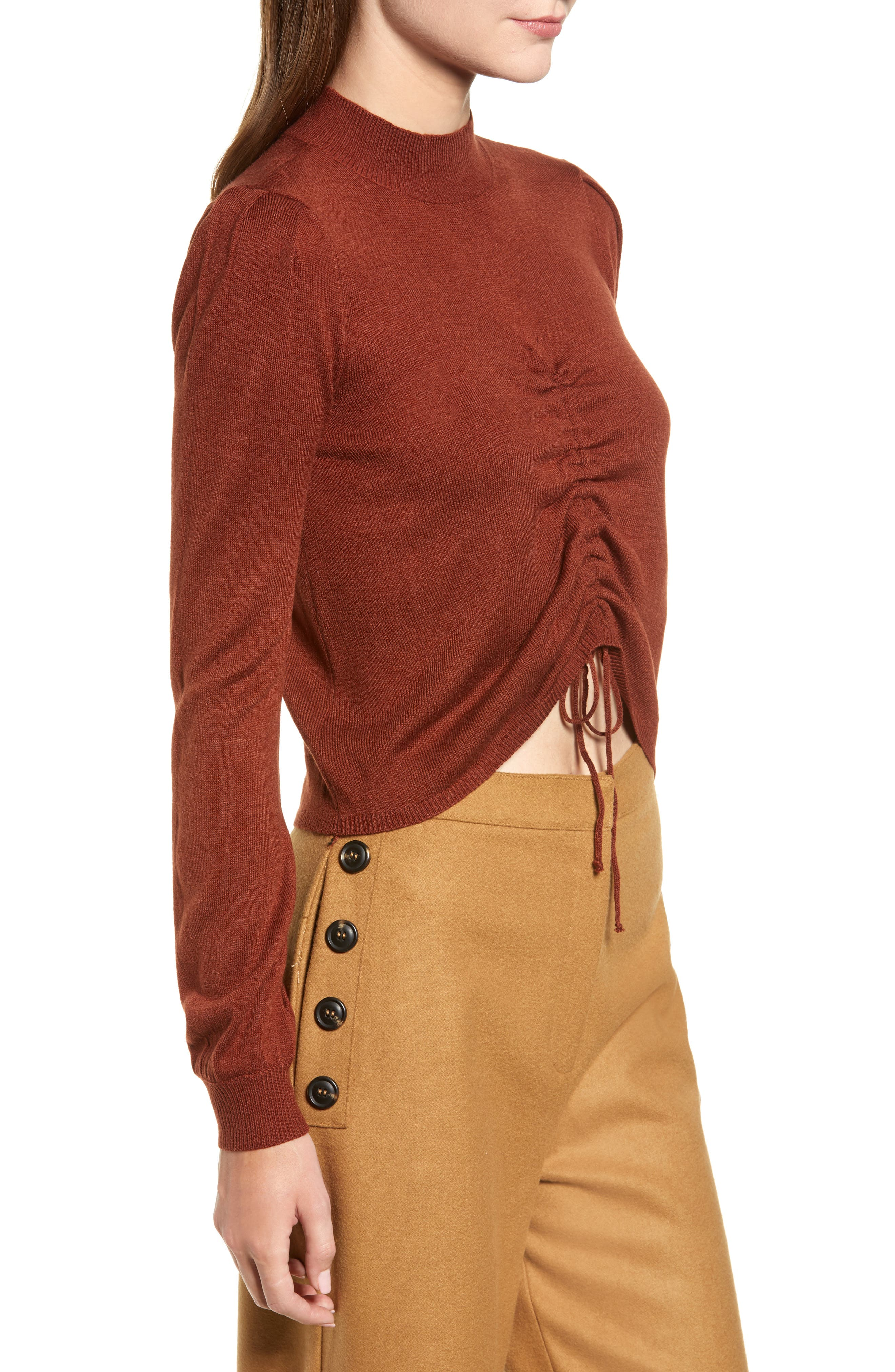 Chriselle Lim Madison Ruched Sweater,                             Alternate thumbnail 4, color,                             RUST